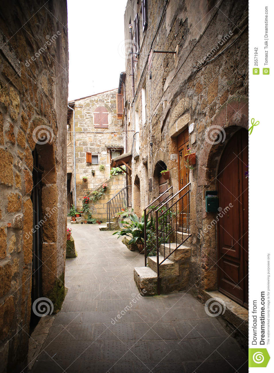 Italian Narrow Street Stock Photo Image Of Europe