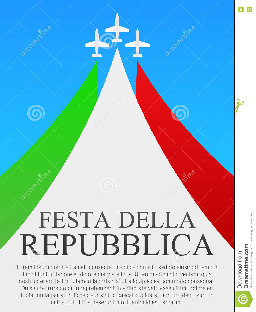 italian national day poster stock vector