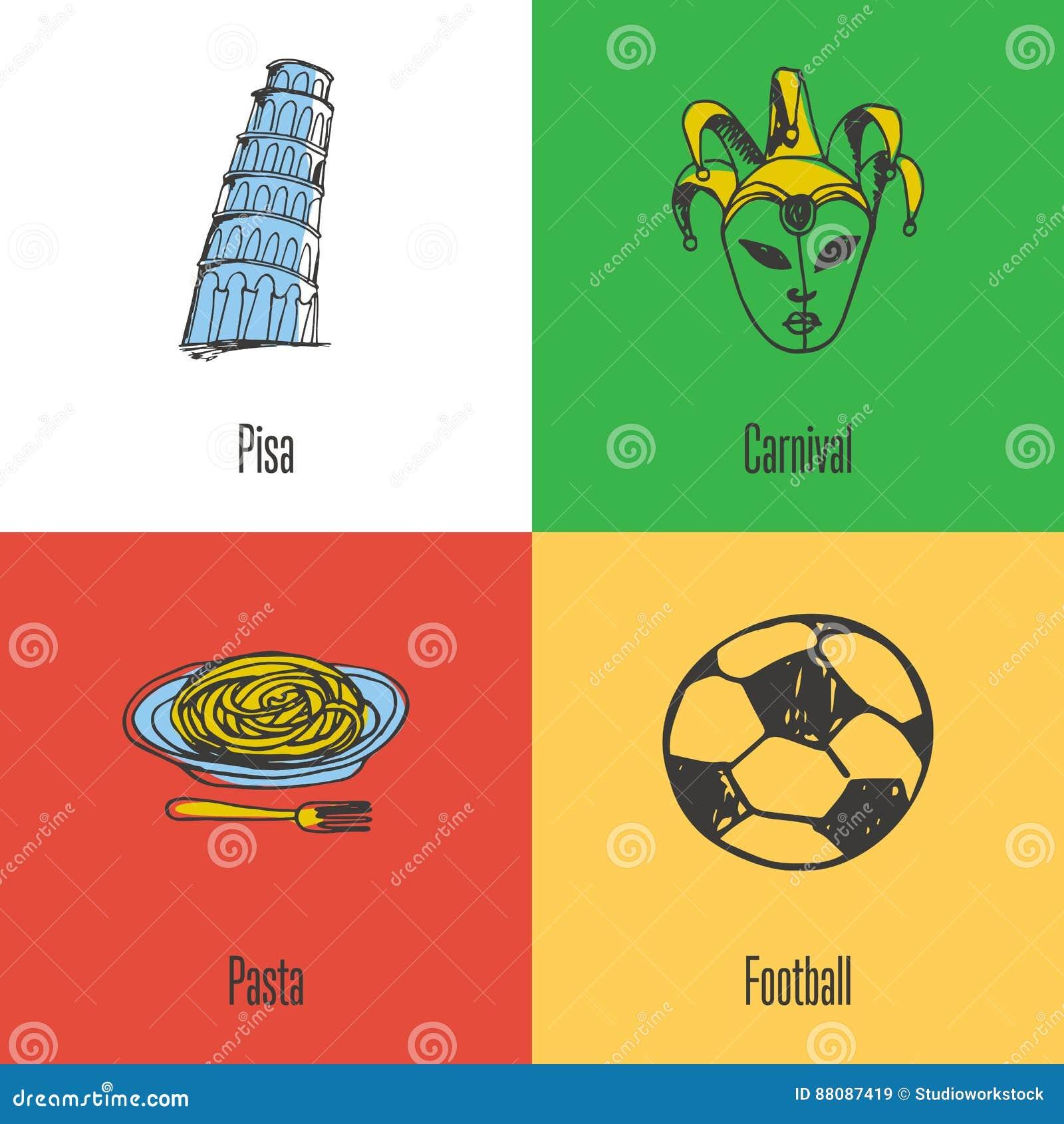 Italian National Symbols Vector Icons Set Stock Vector