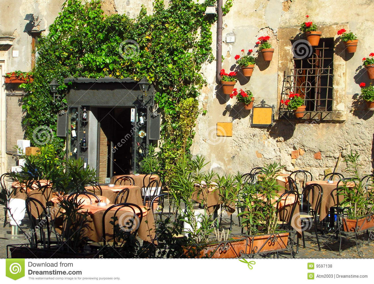 Italian Outdoor Cafe And Wine Bar Royalty Free Stock