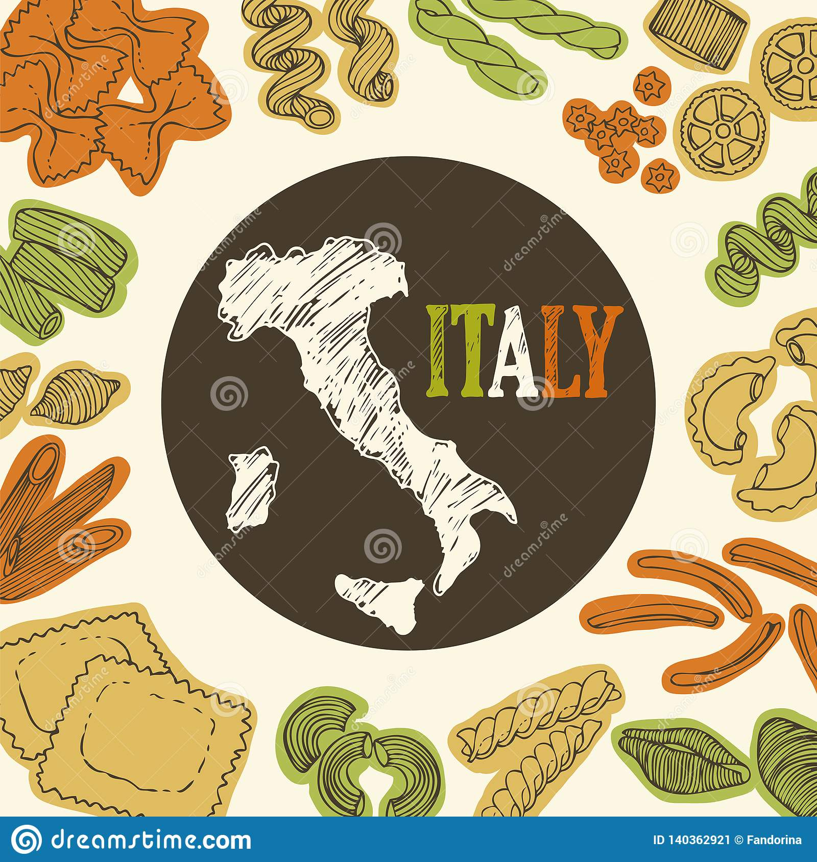 Italian Pasta Food Background Stock Vector Illustration Of