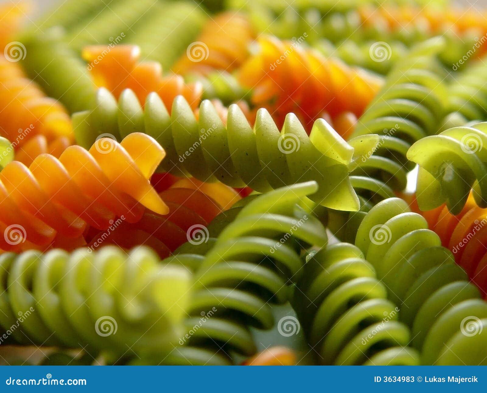 Italian Pasta Fusilli Red And Green 3 Stock Photos Image