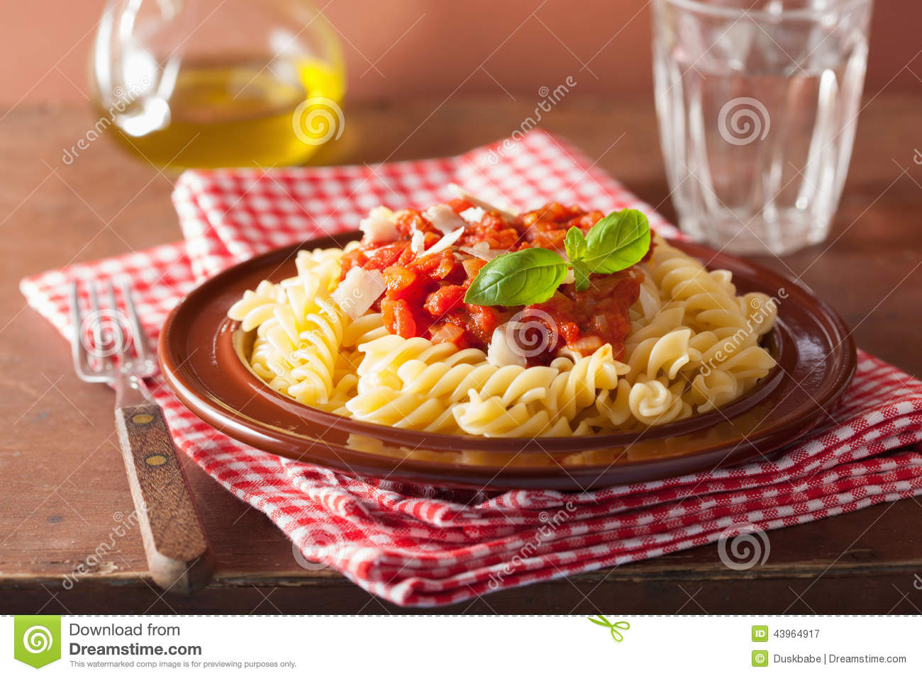 Italian Pasta Fusilli With Tomato Sauce And Basil Stock Photo - Image ...