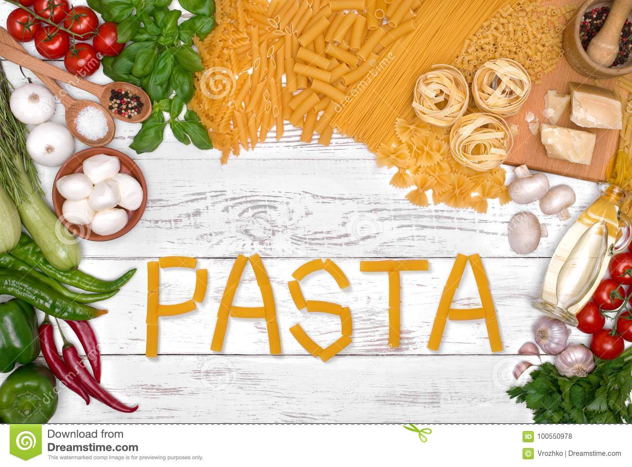 Italian Pasta Ingredients On White Wooden Table, Top View Stock ...