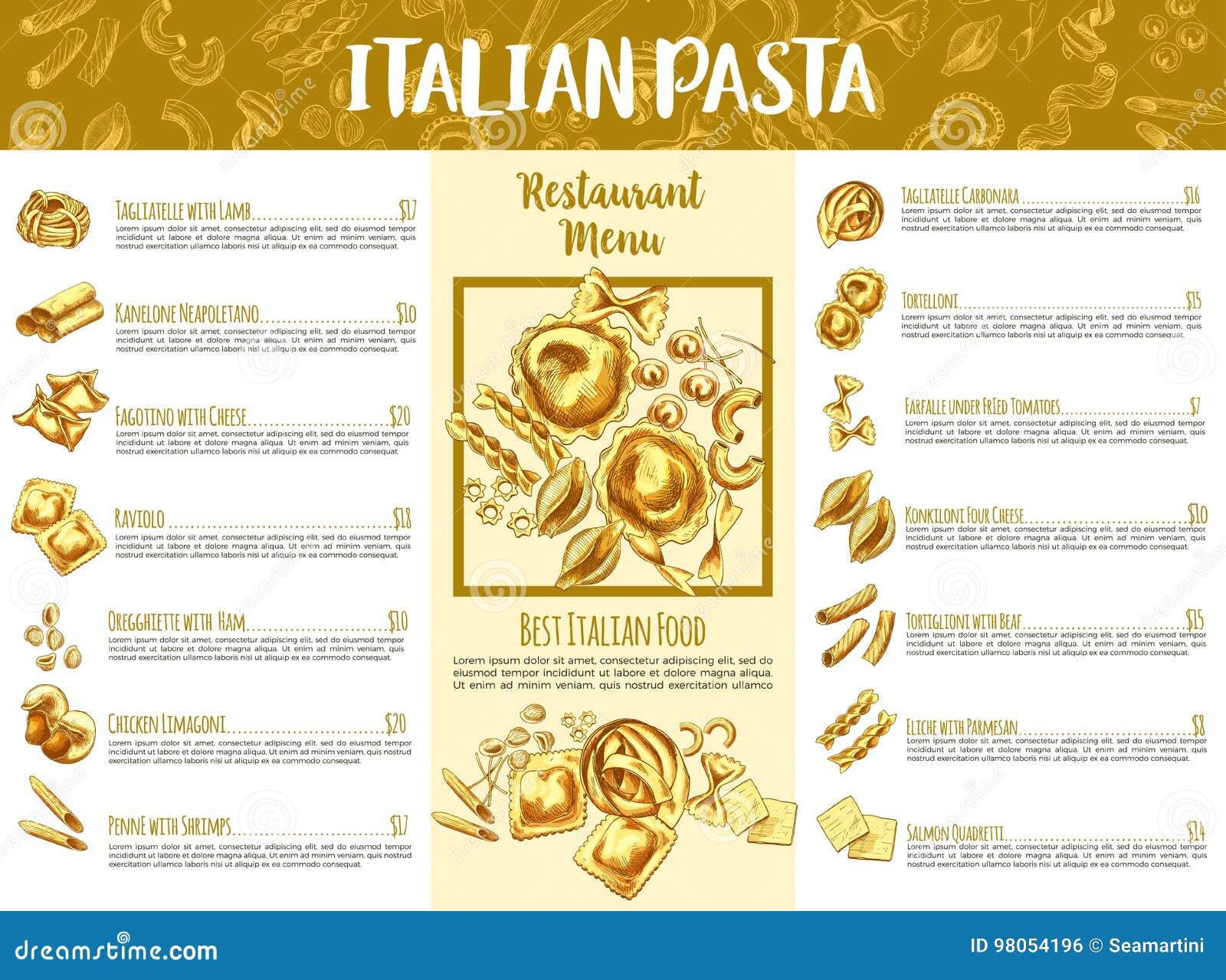Italian Pasta Menu Template For Restaurant Design Stock Vector