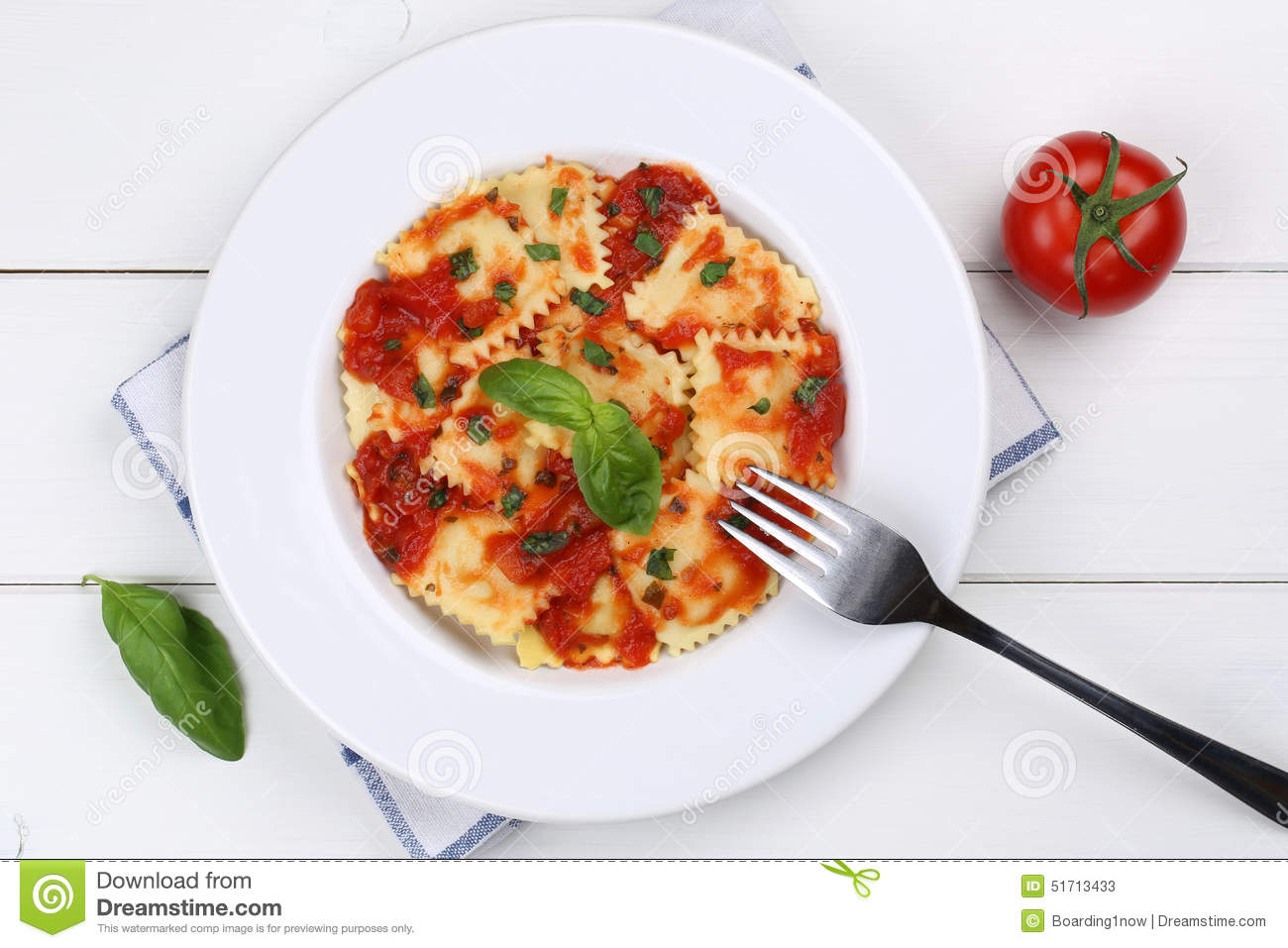 Italian Pasta Ravioli With Tomato Sauce Noodles Meal From Above