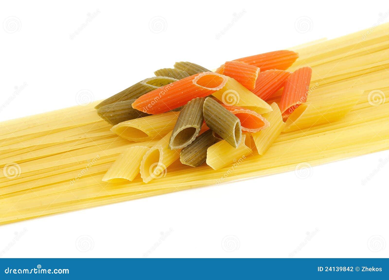 italian pasta spaghetti and penne rigate tricolore stock photography image 24139842. Black Bedroom Furniture Sets. Home Design Ideas
