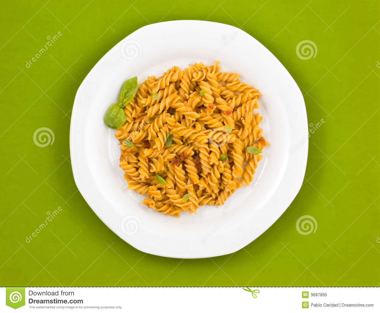 Italian Pasta With Tomato Sauce And Basil. Royalty Free ...