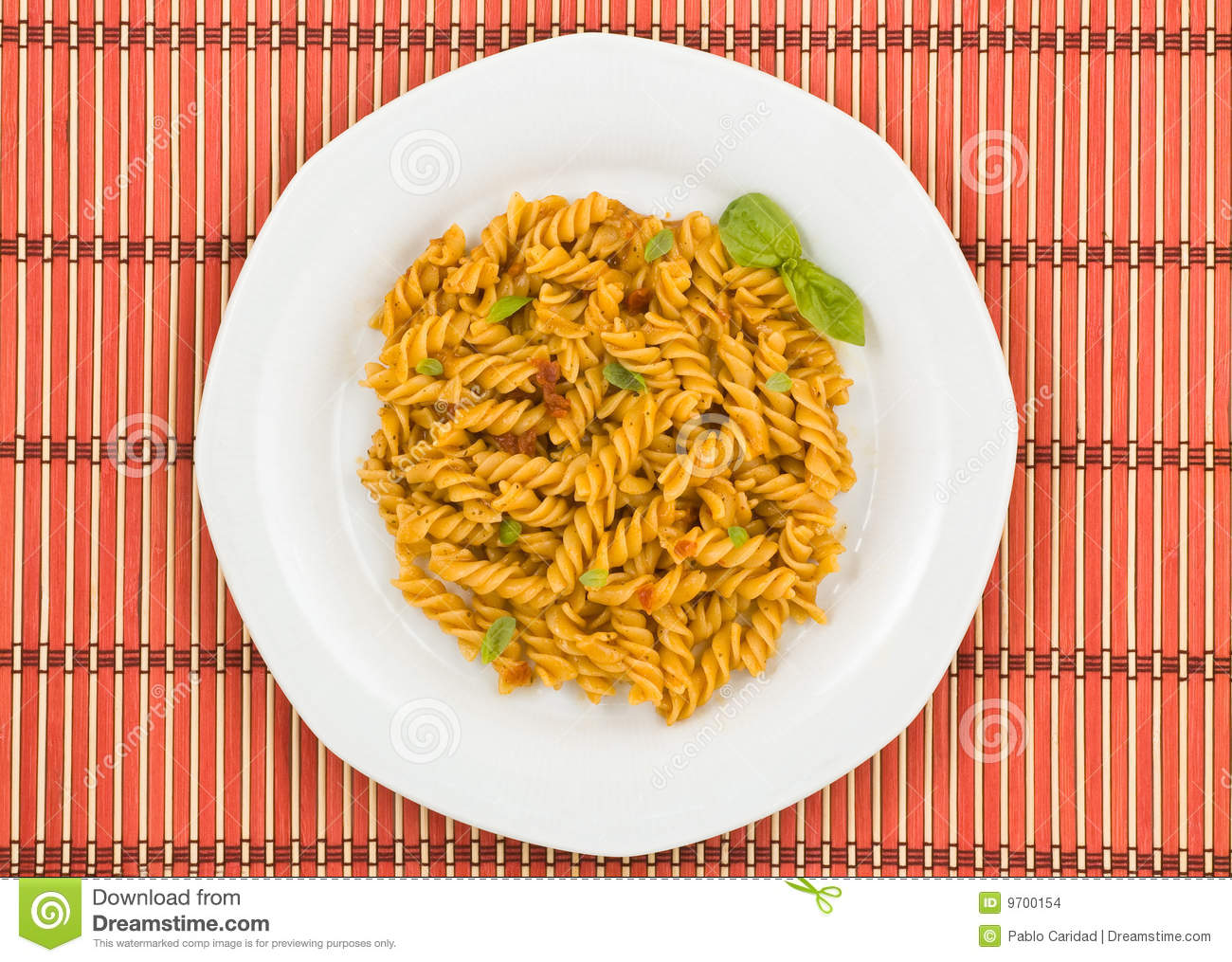Italian Pasta, With Tomato Sauce And Basil. Stock Images - Image ...