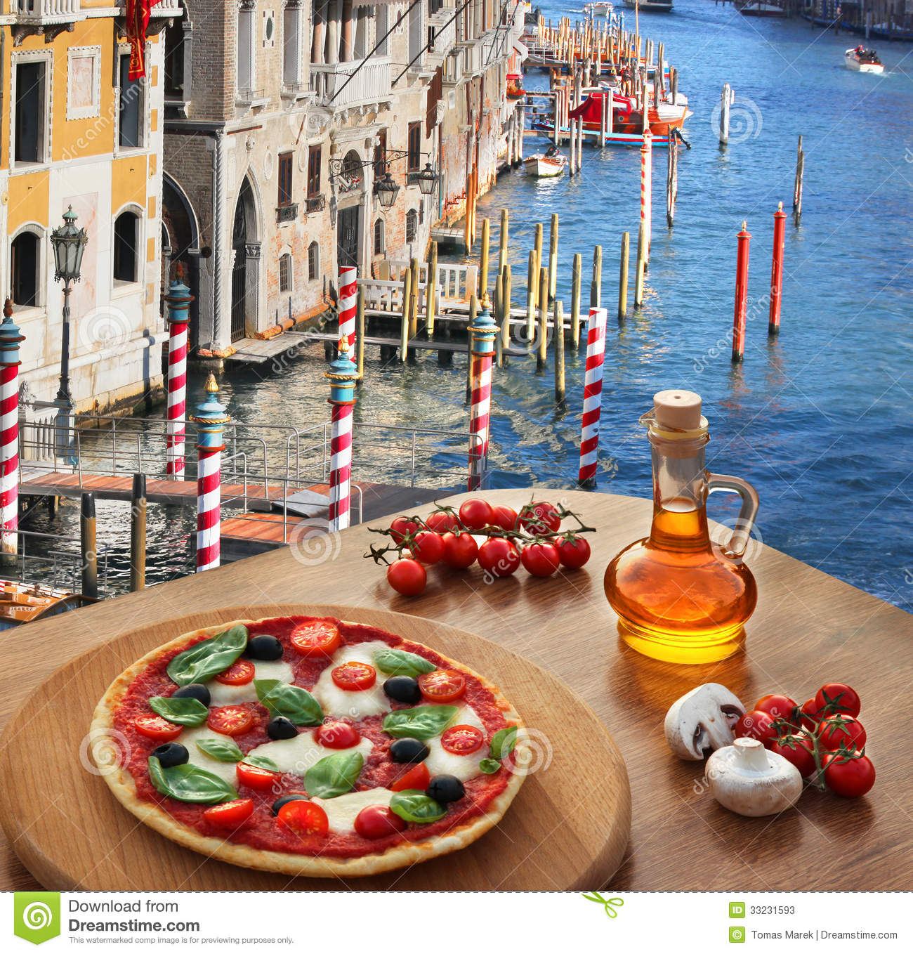 italian pizza in venice against canal italy stock image image 33231593. Black Bedroom Furniture Sets. Home Design Ideas