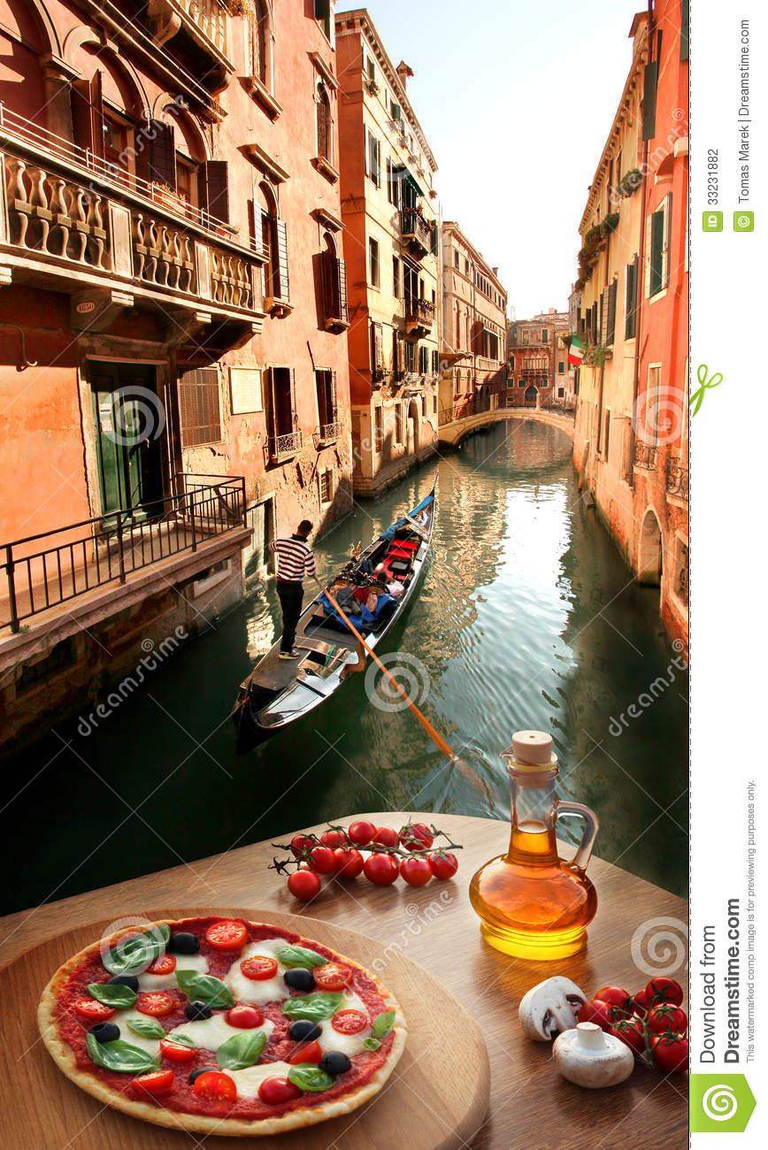 Italian Pizza In Venice Against Canal Italy Stock