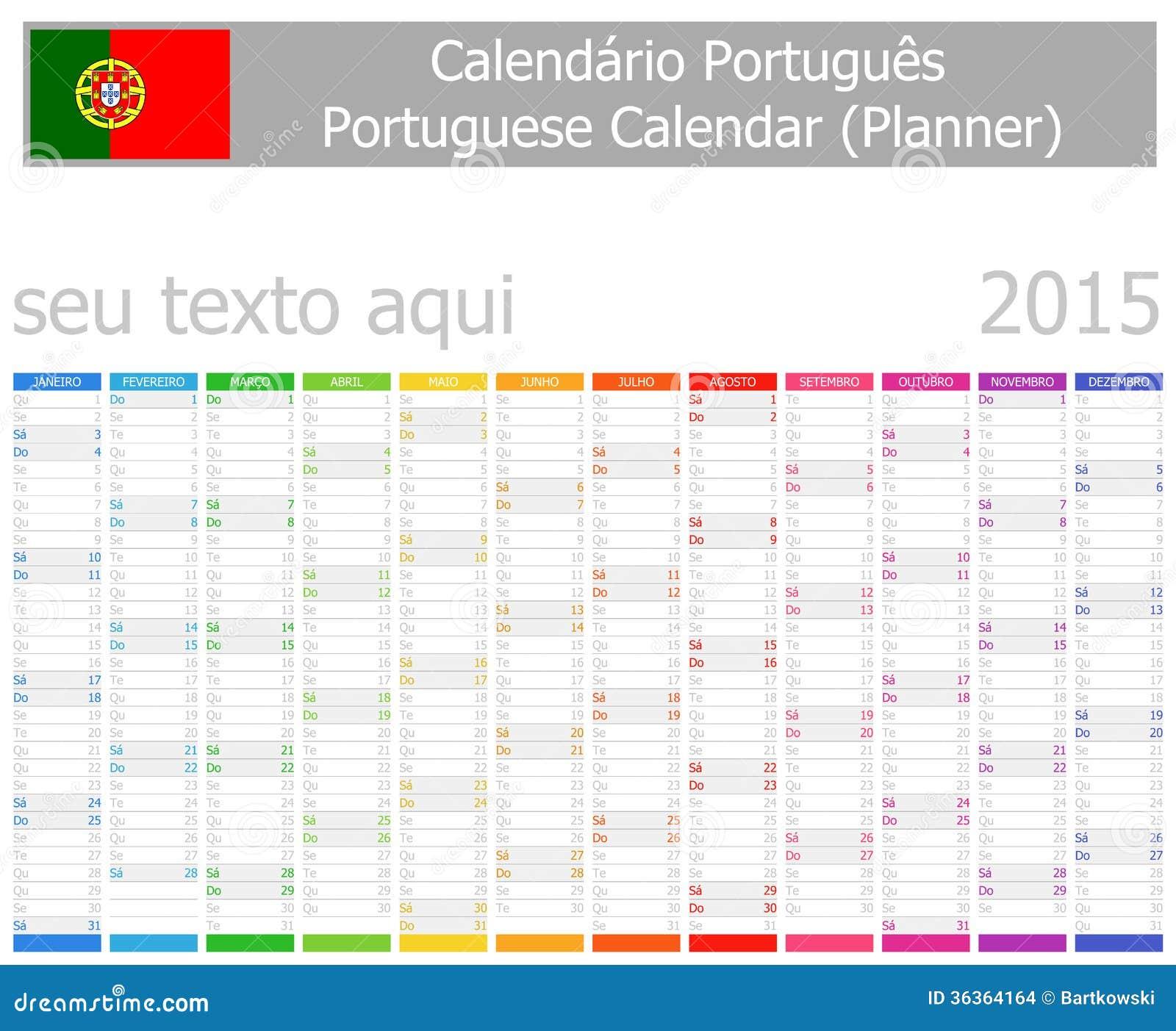 2015 italian planner calendar with vertical months stock vector