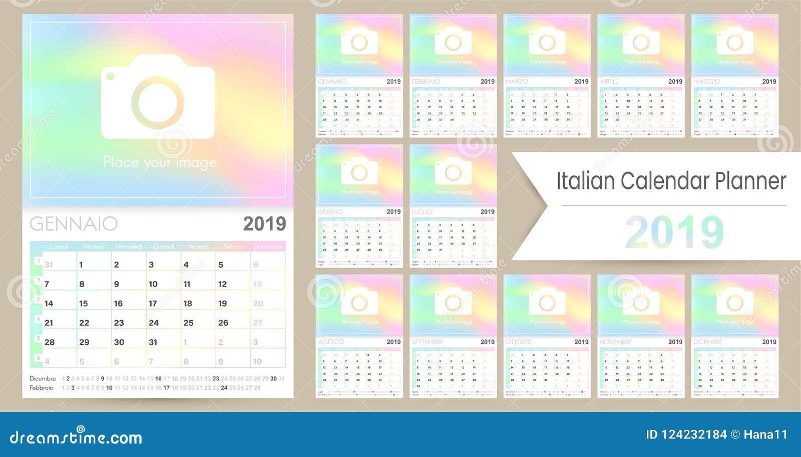 Italian Planning Calendar 2019 Stock Vector Illustration Of