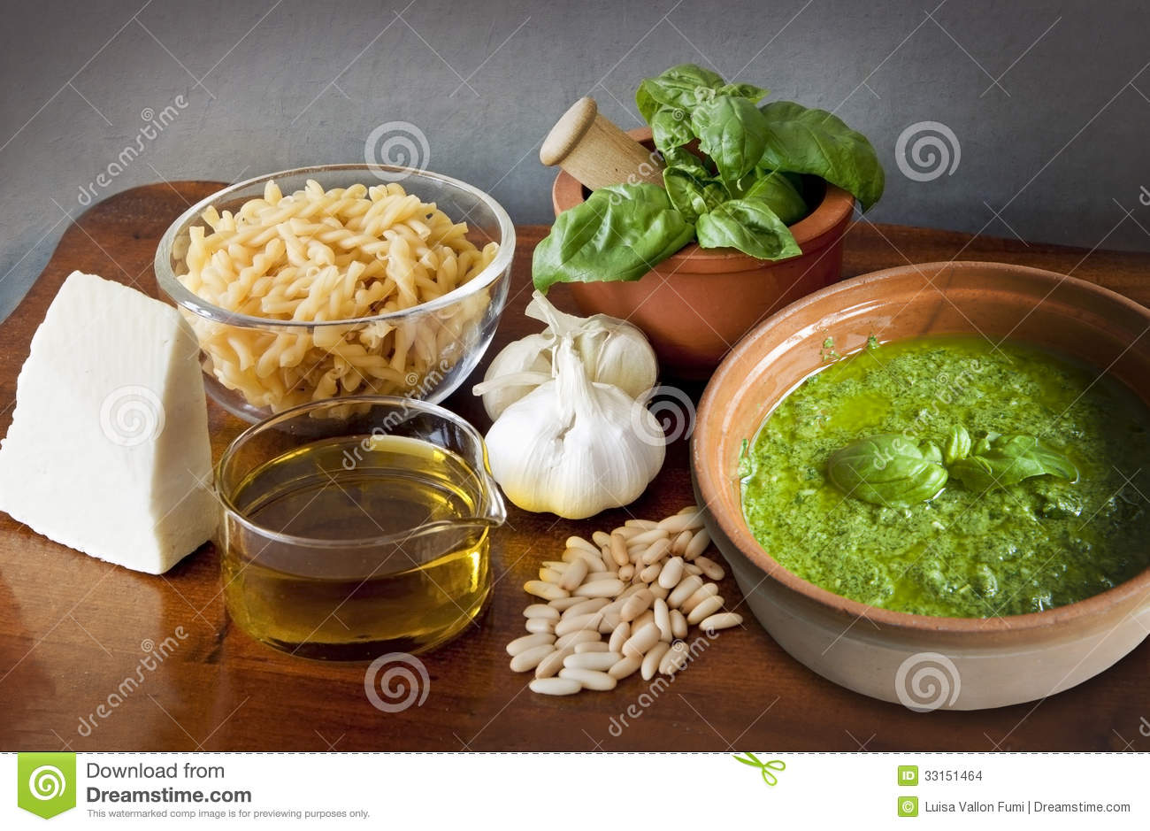 italian recipe noodles with pesto sauce stock photo. Black Bedroom Furniture Sets. Home Design Ideas