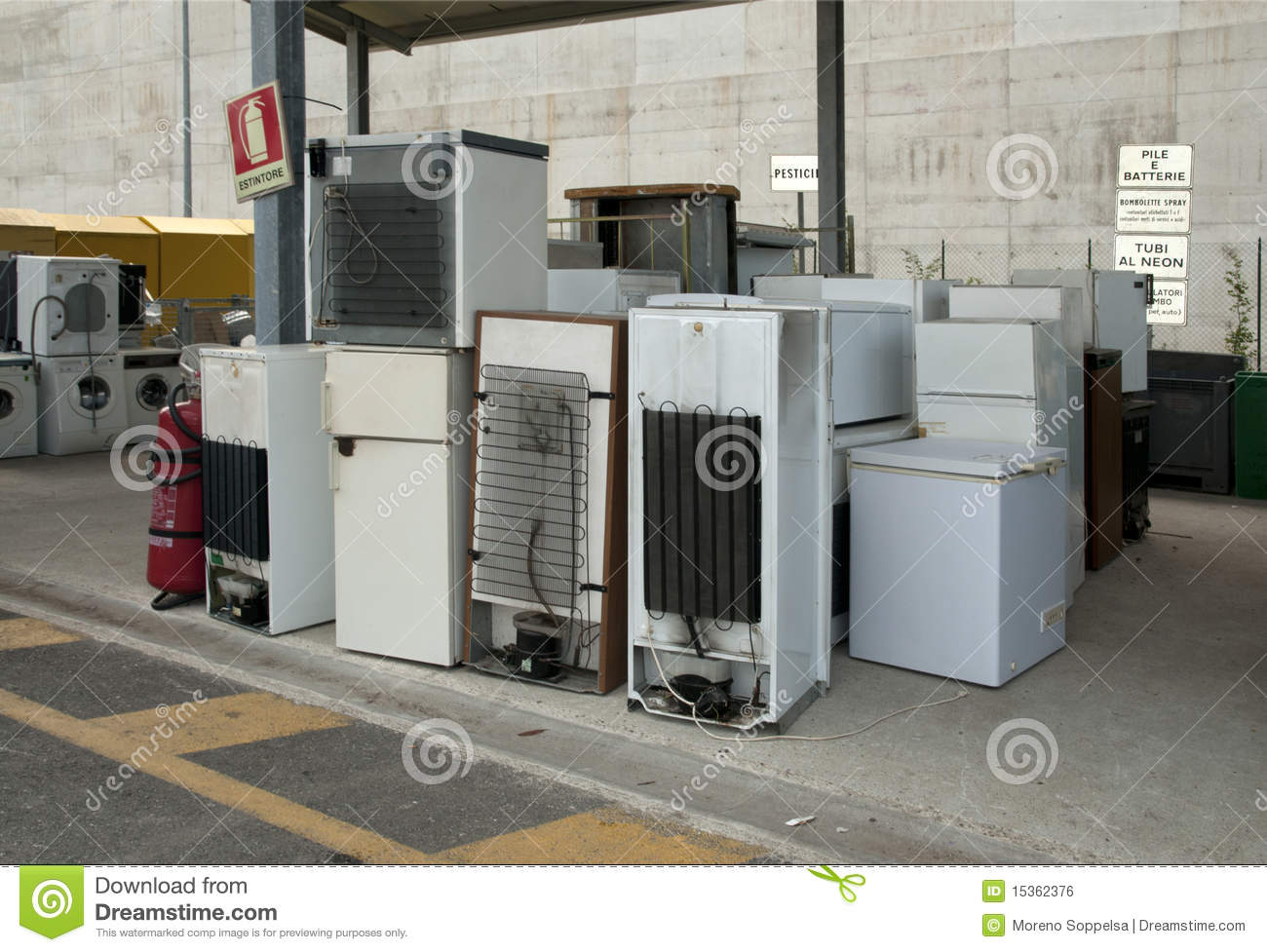 Italian recycling center raee appliances royalty free for Household waste recycling centre design