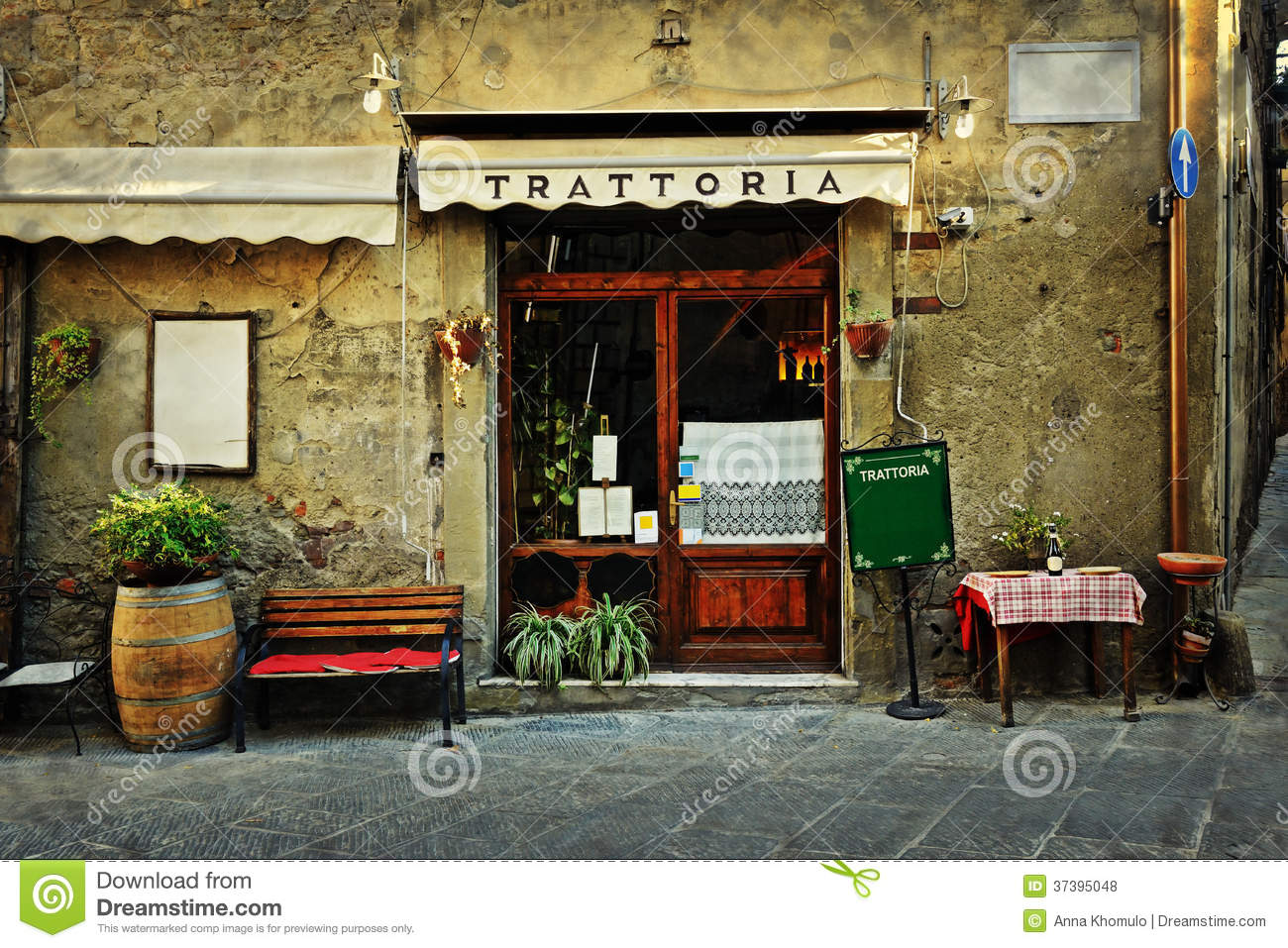 Italian restaurant stock photo image of town street