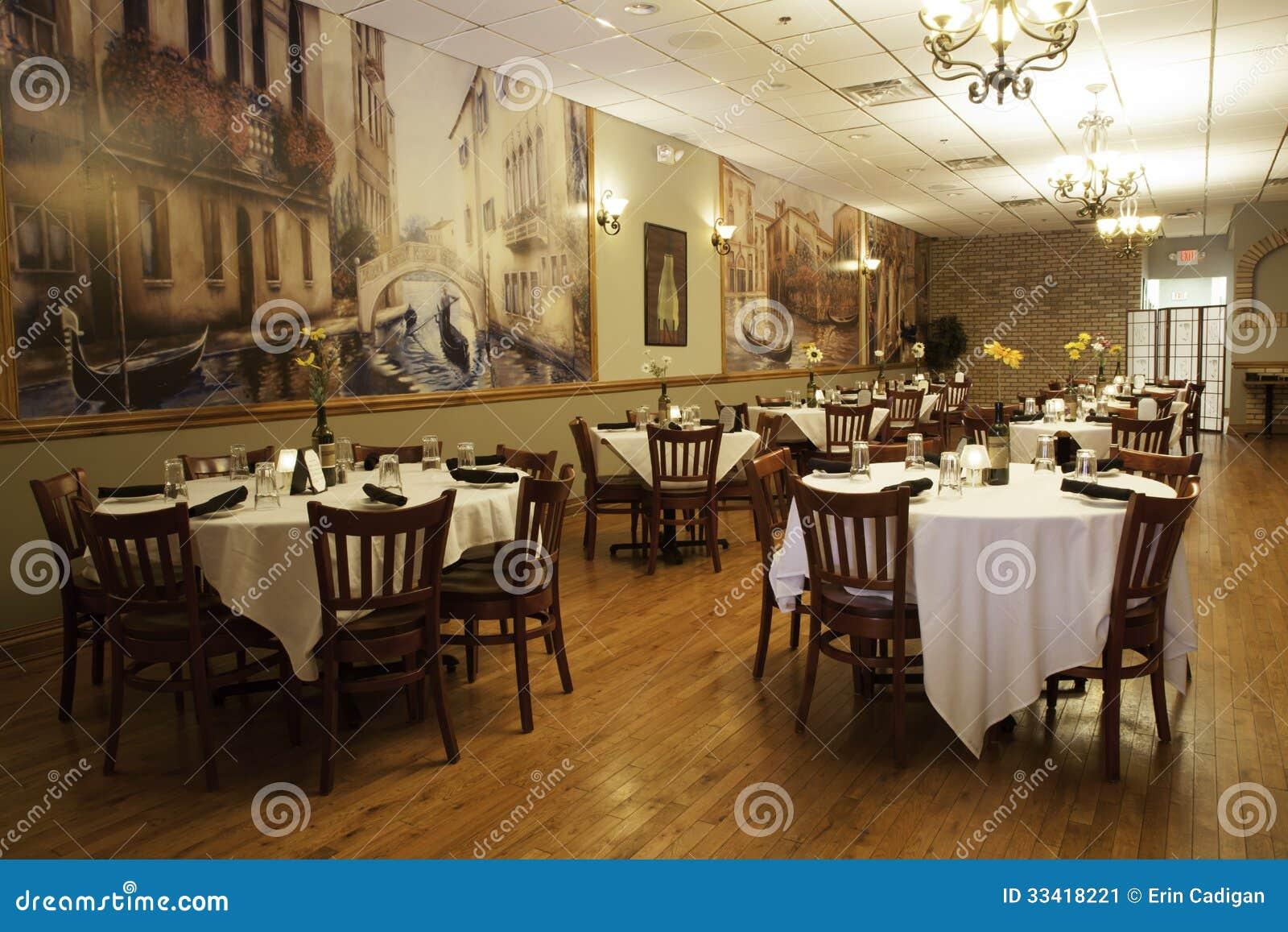 Italian restaurant interior main dining room editorial