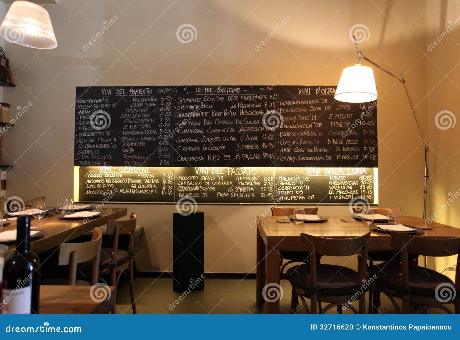 Italian restaurant editorial image of menu product
