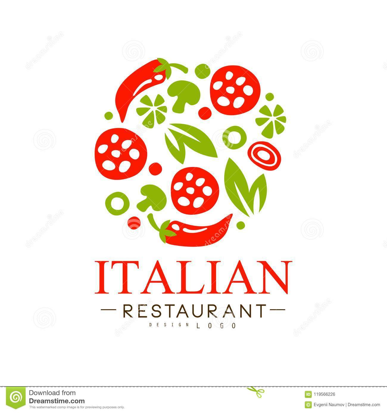 Italian Restaurant Logo Design Authentic Traditional Continental Food Label Vector Illustration I On A White Background Stock Vector Illustration Of Culture Banner 119566226