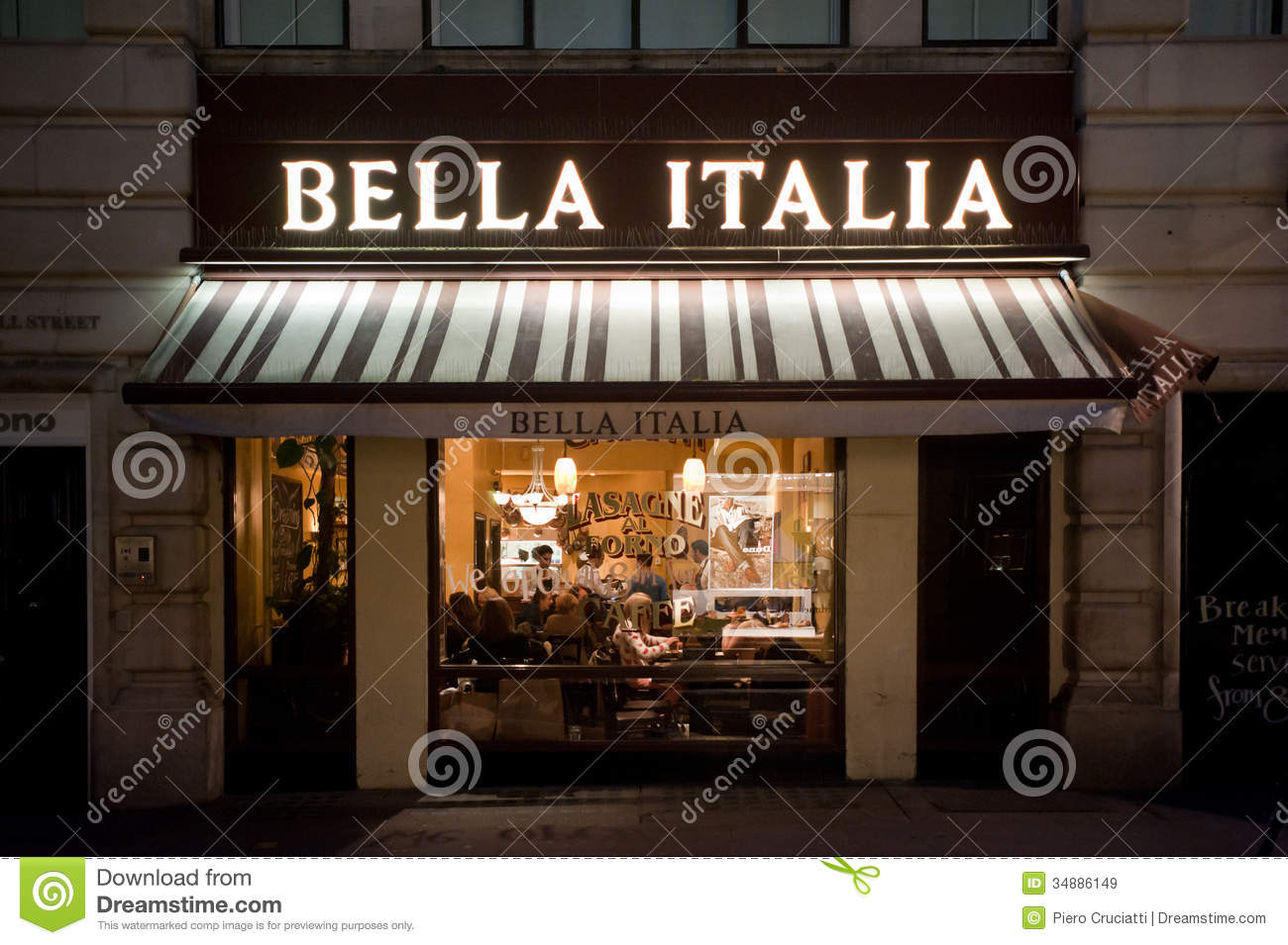 Italian Restaurant In London Editorial Stock Image - Image: 34886149