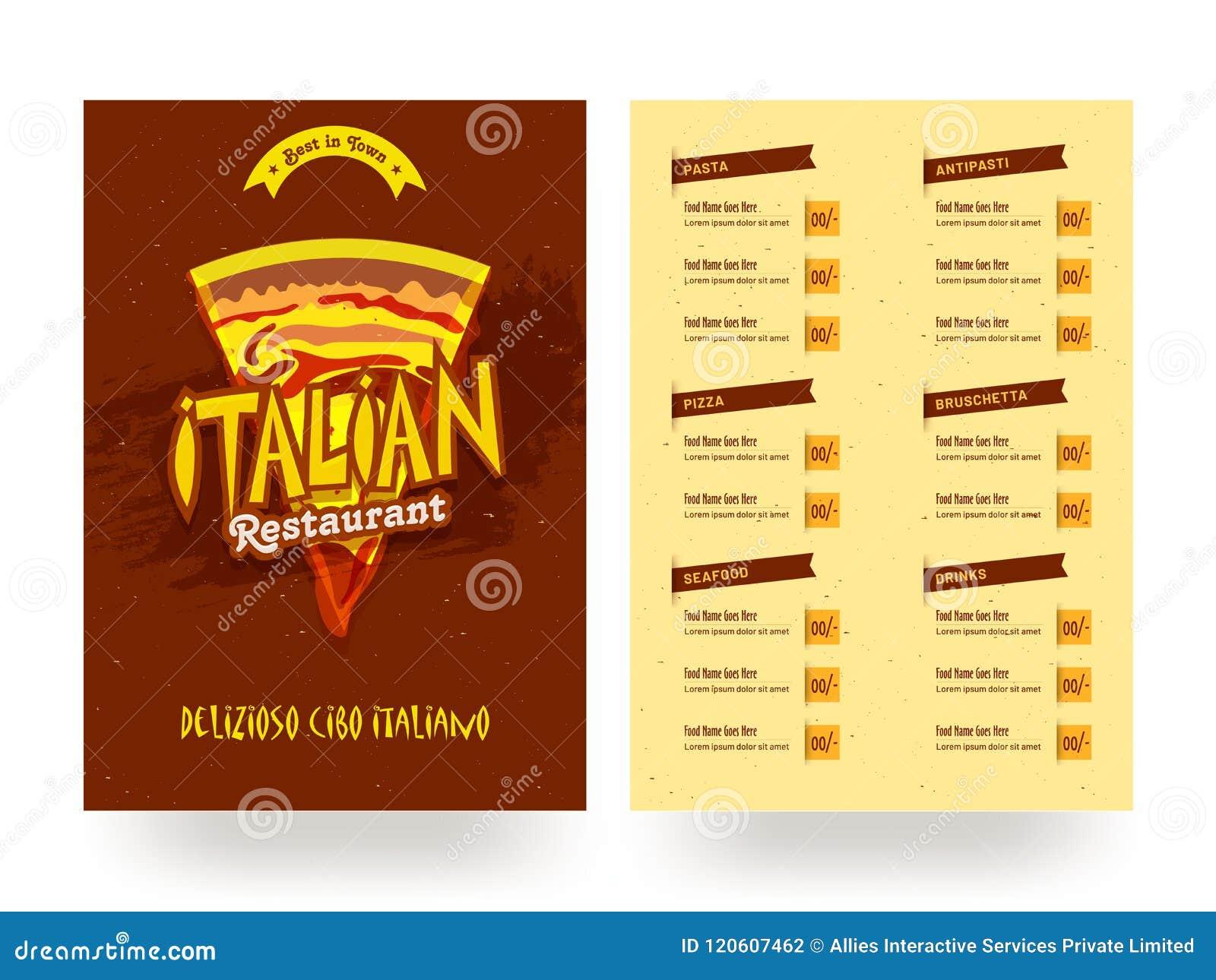 italian restaurant menu card template or flyer design stock