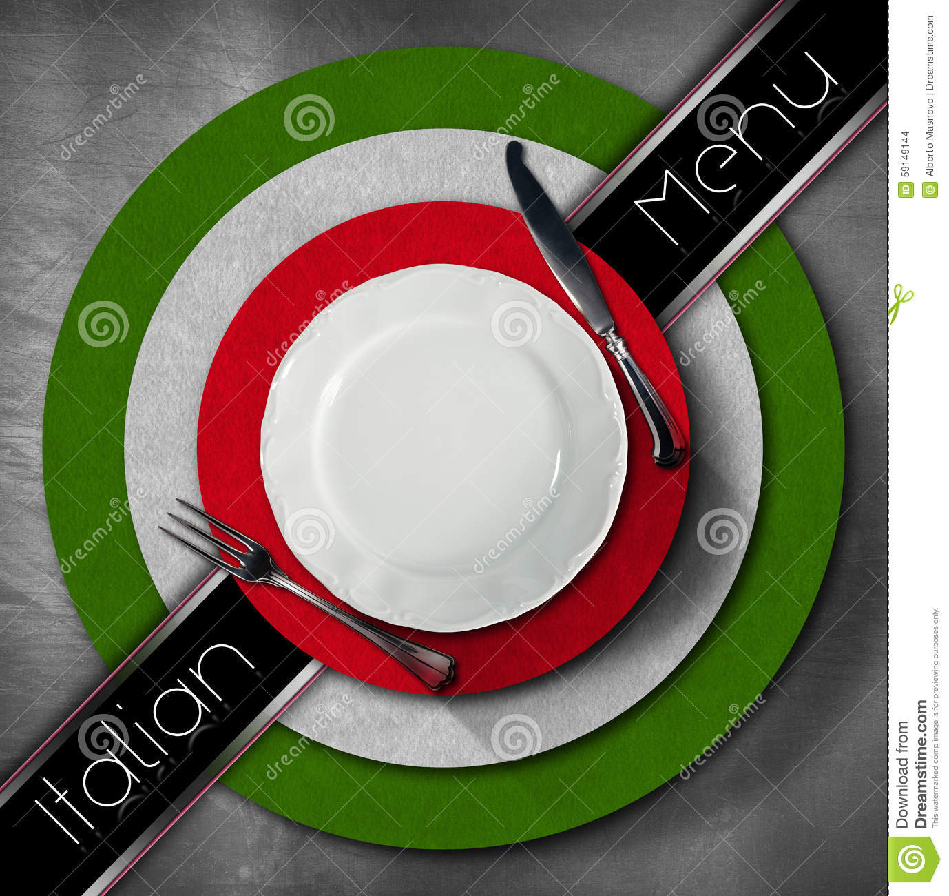 Restaurant menu with green red and white italian flag text italian