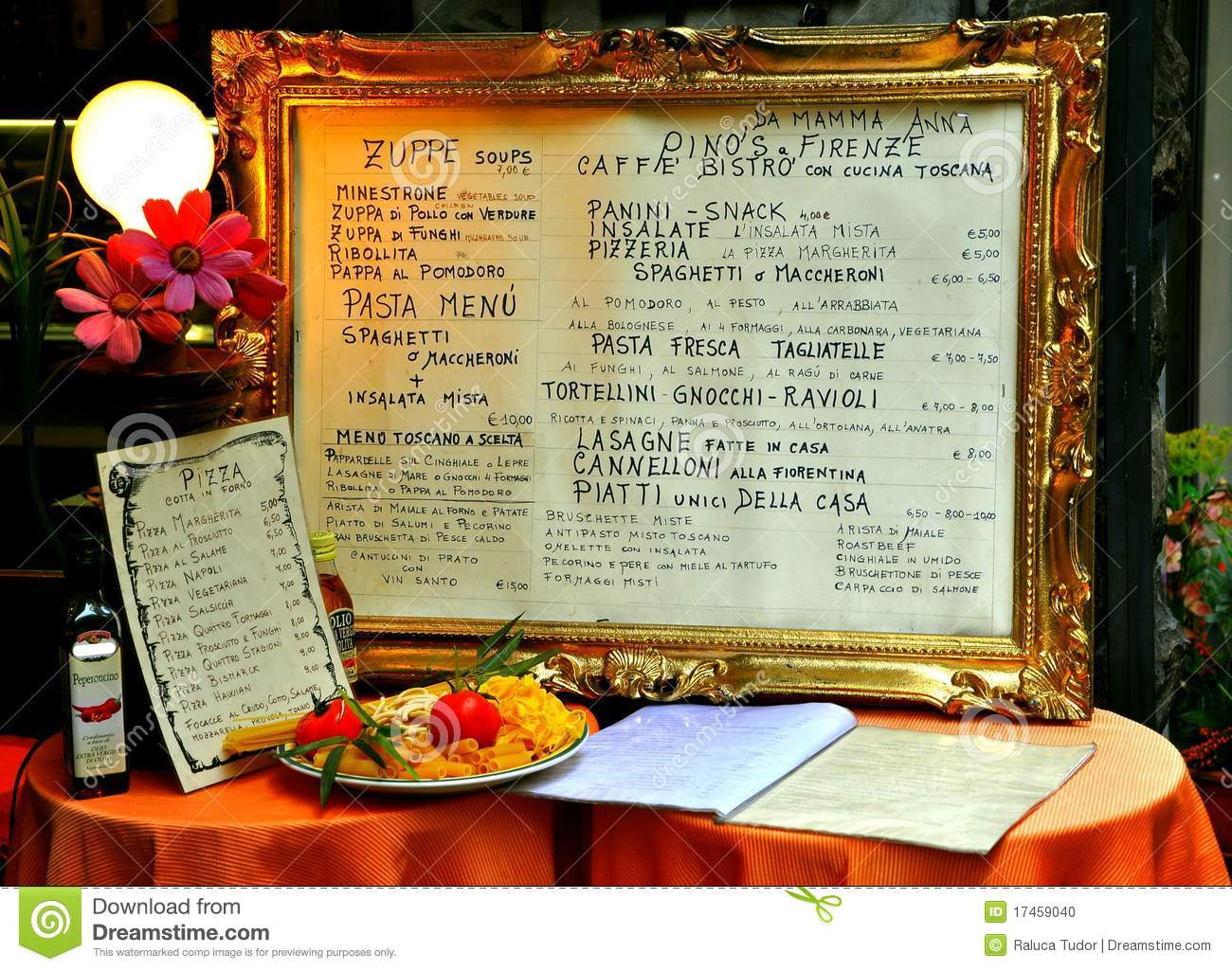 Italian restaurant menu on a table editorial image image for Table menu restaurant
