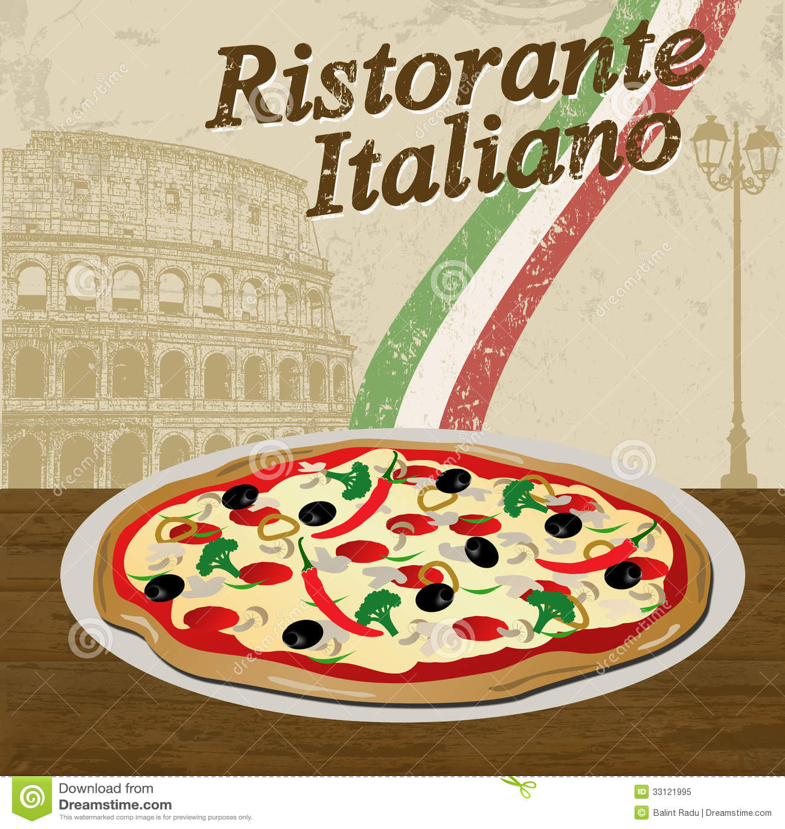 Italian Restaurant Poster Stock Vector Illustration Of Banner