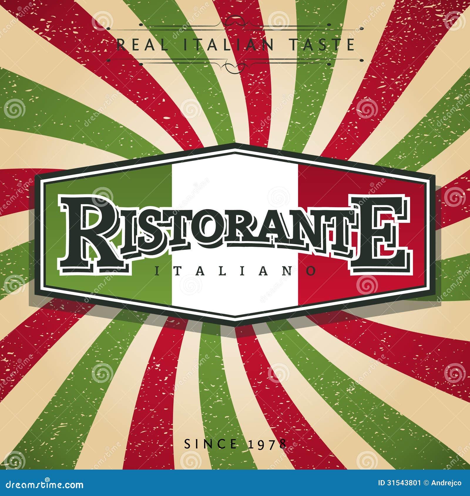 Italian Restaurant Logo With Flag: Italian Restaurant Stock Vector. Image Of Backdrop, Text