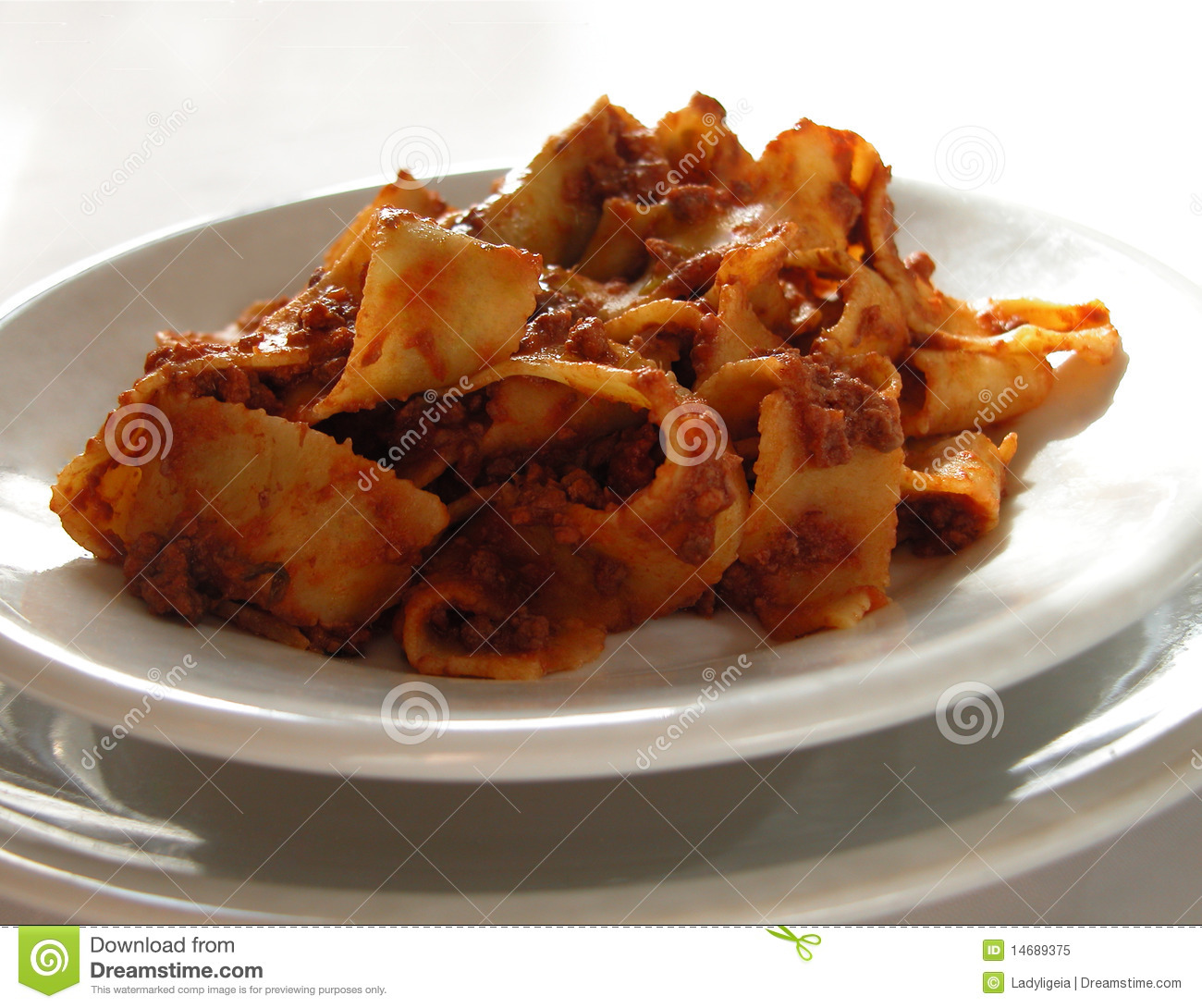 Italian Ribbon Pasta With Meat Sauce Royalty Free Stock Photo - Image ...