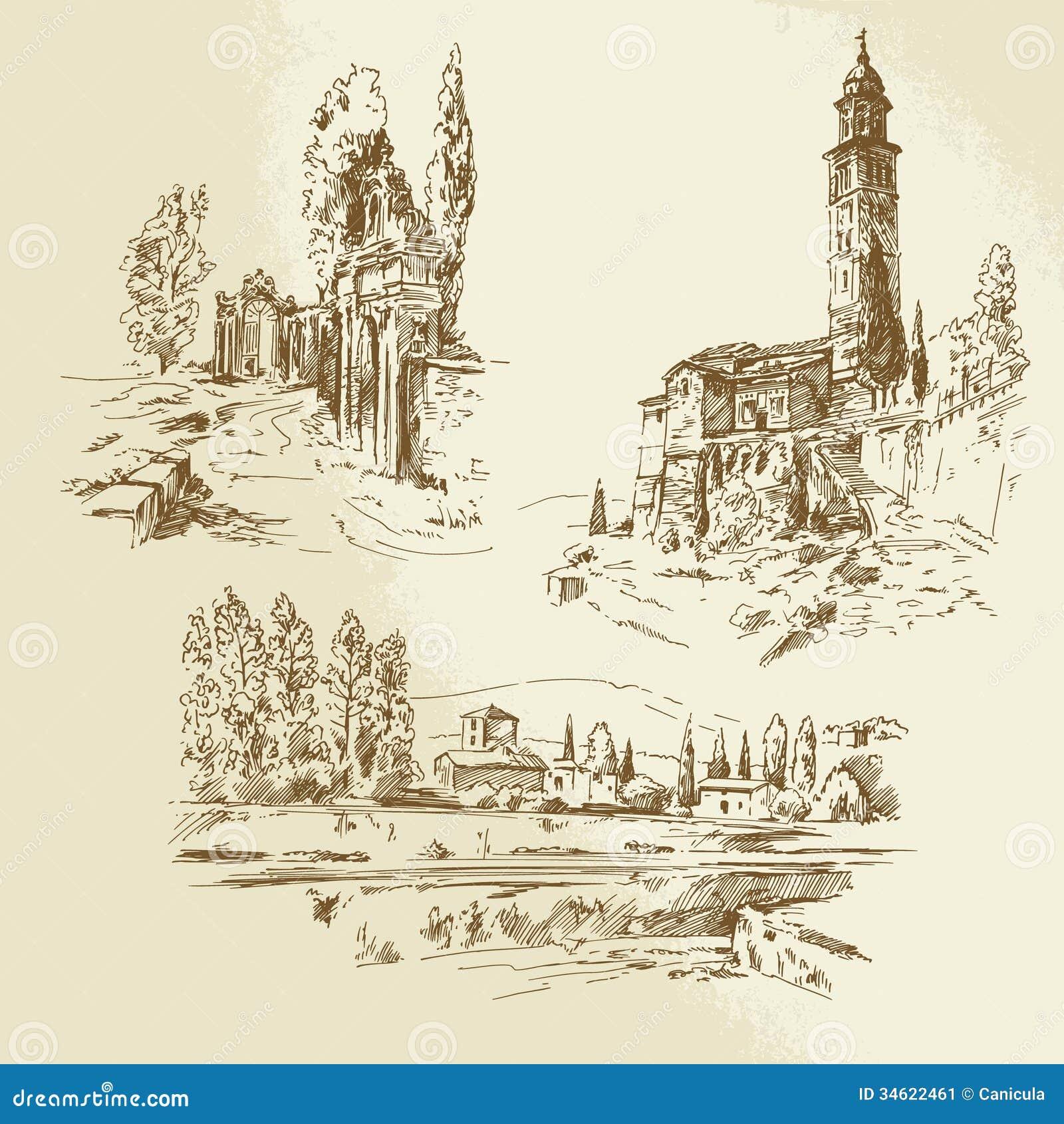 Landscape Illustration Vector Free: Italian Rural Landscape Stock Image