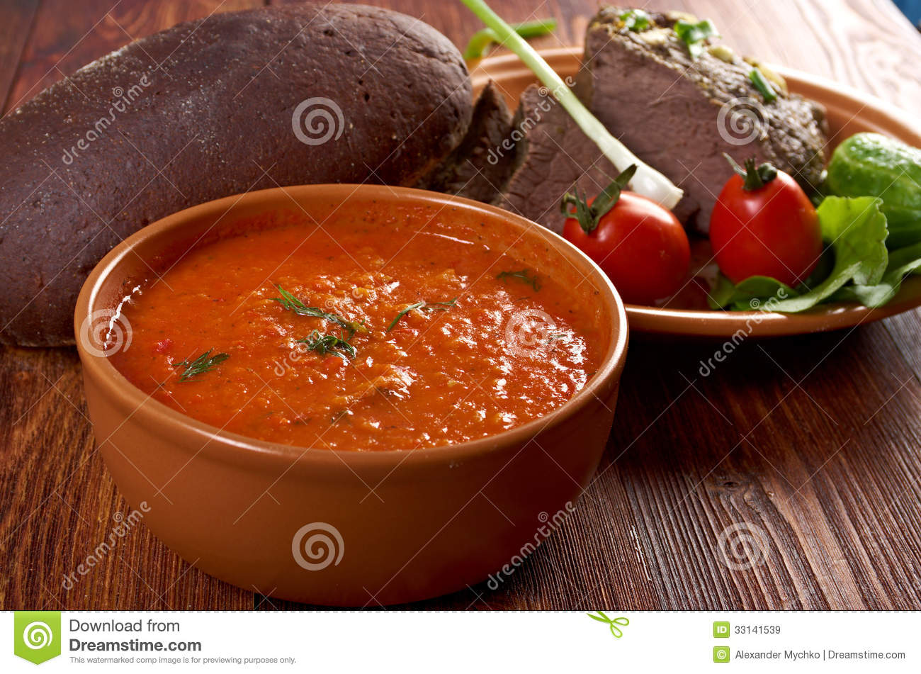 Italian rustic dinner - tomato soup or Pappa al Pomodoro and roasted ...