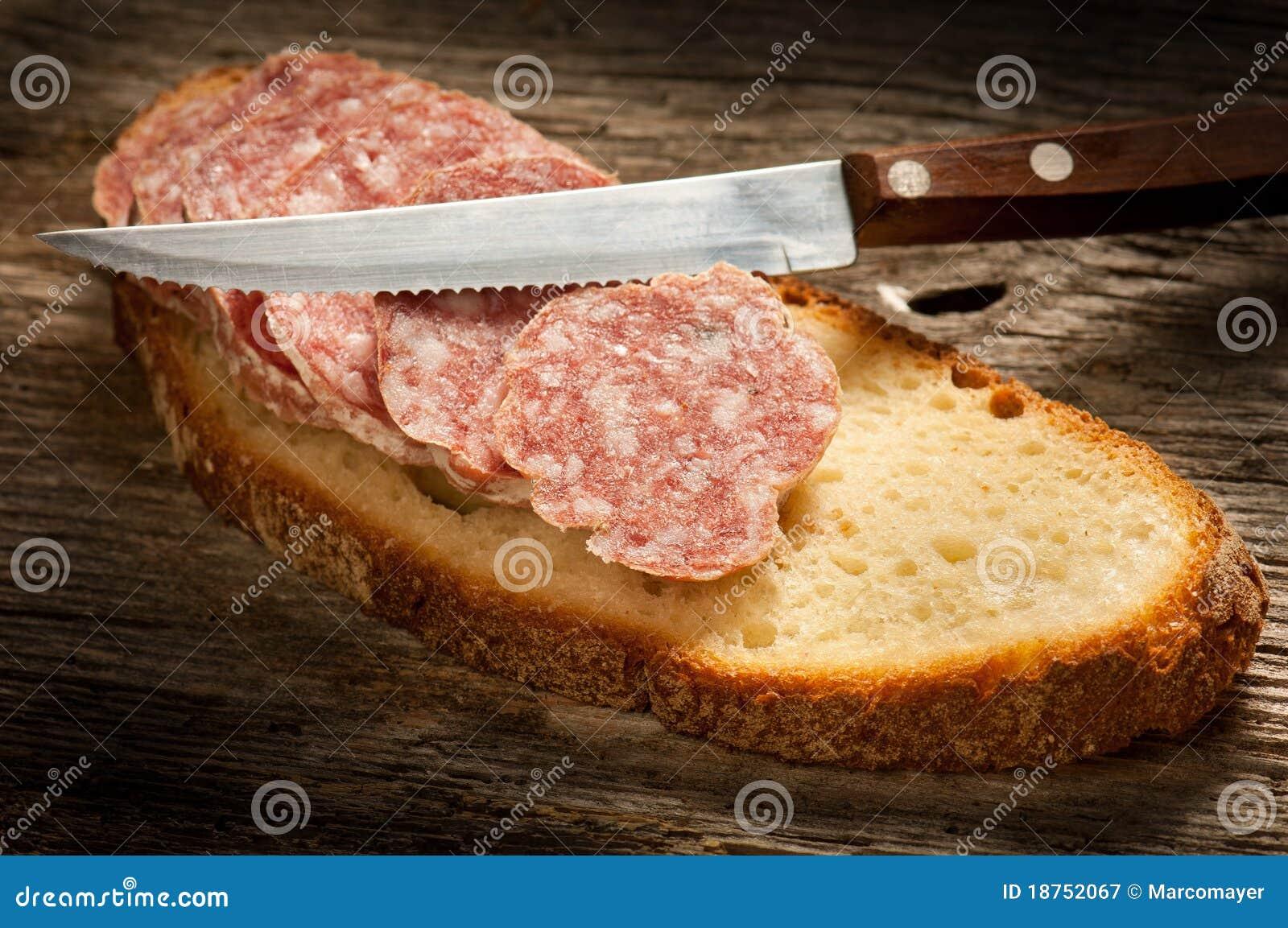 Italian salami with slice bread