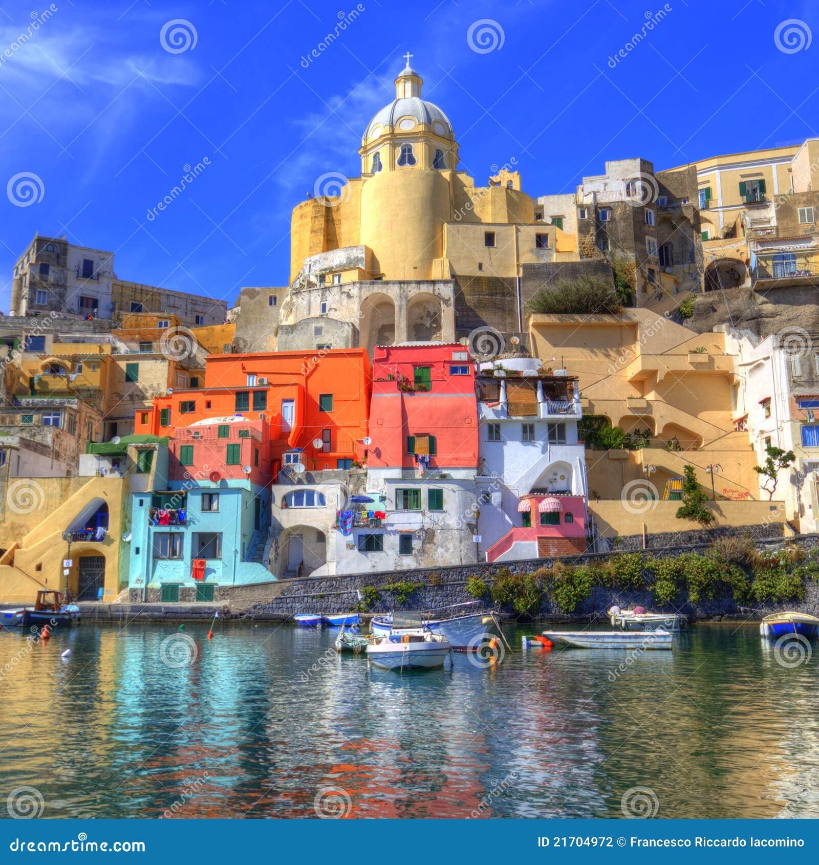 Italian sea coast, procida, naples