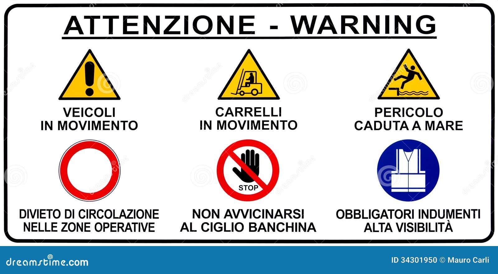 Italian Seaport Warning Road Sign Stock Photo Image