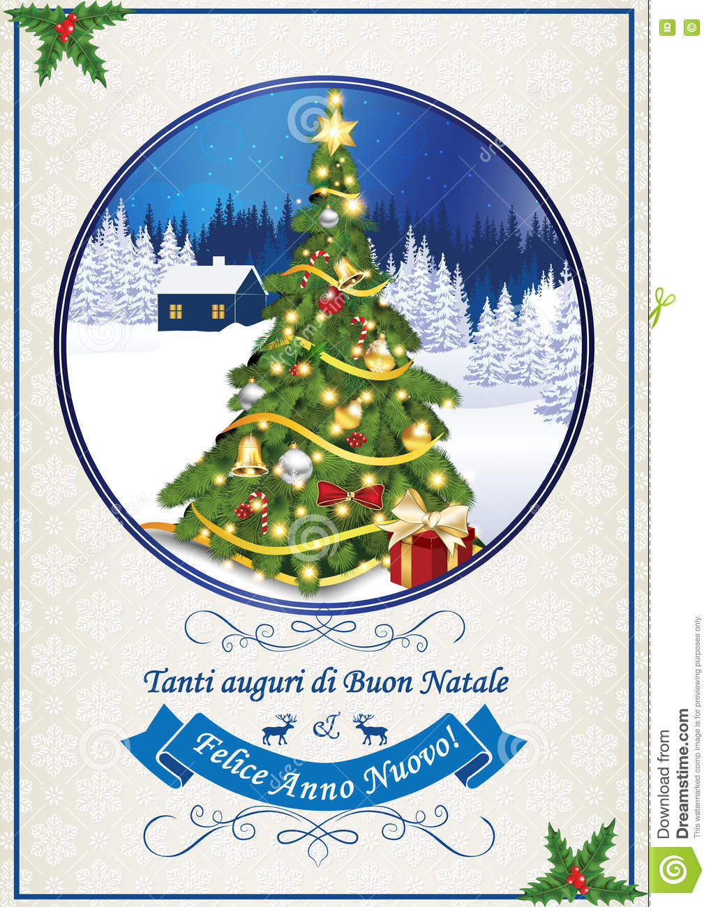 italian seasons greetings for winter holiday merry christmas and happy new year tanti auguri di buon natale felice anno nuovo print colors used - Merry Christmas And Happy New Year In Italian