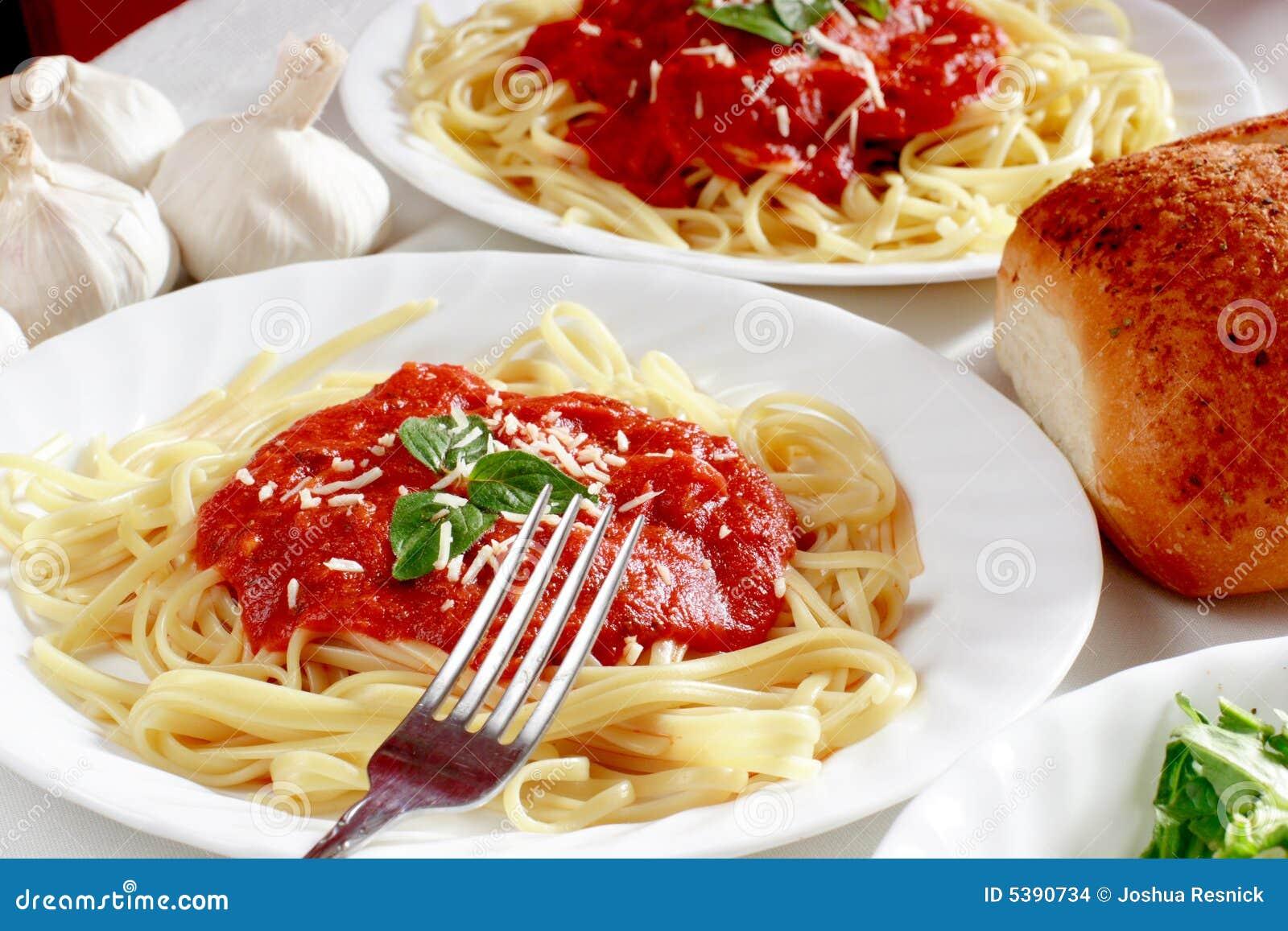 Italian spaghetti dinner stock photo image of loaf for Italian dinner