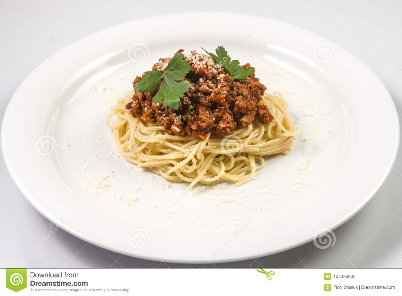 Italian Spaghetti Pasta With Beef And Tomato Sauce Bolognese