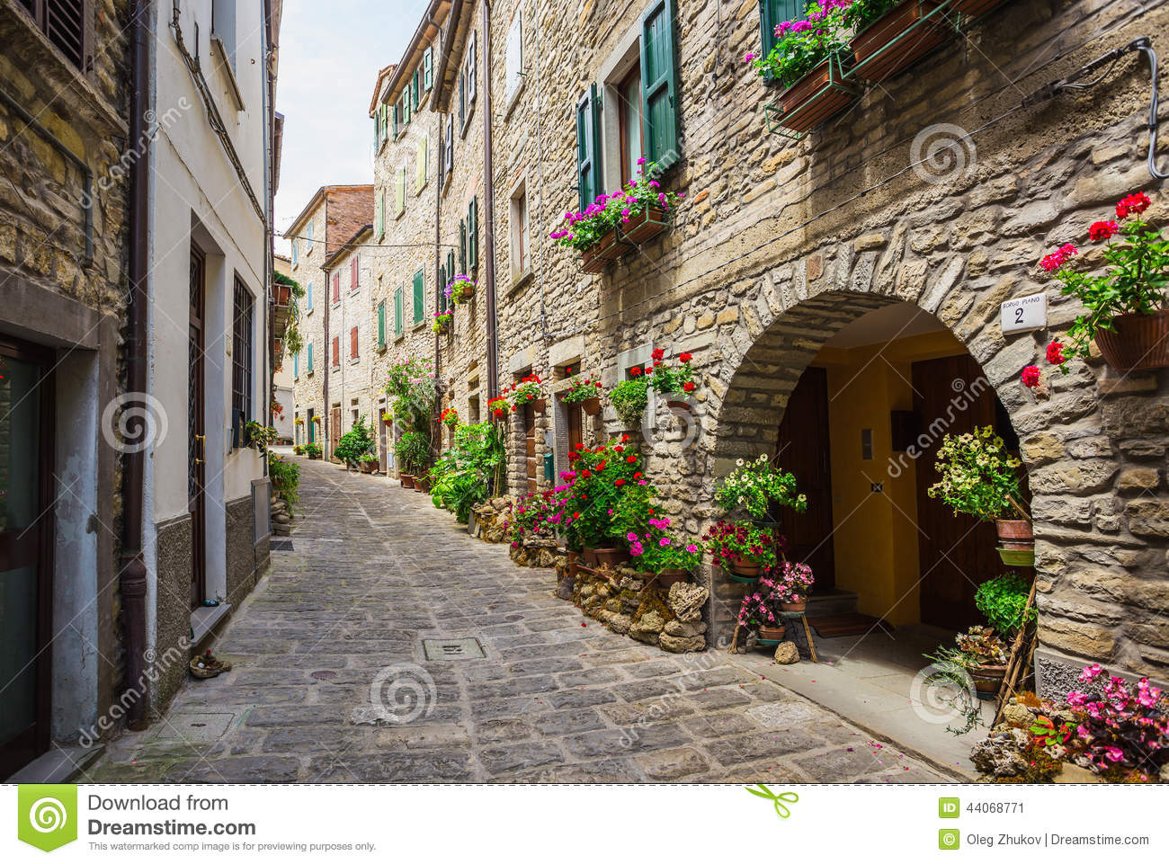 italian street in a small provincial town of tuscan stock
