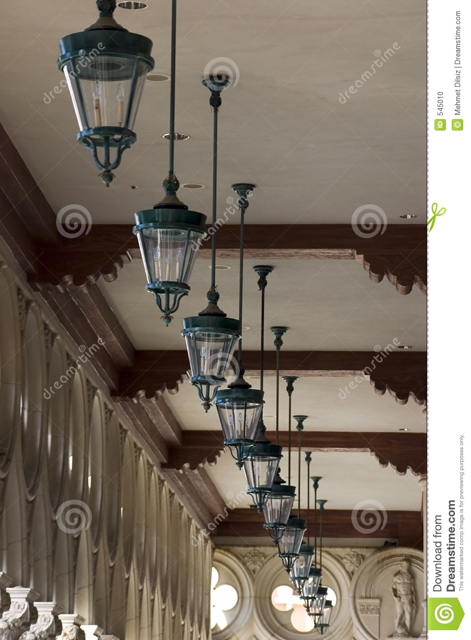italian style ceiling lamps in a row in venetian las. Black Bedroom Furniture Sets. Home Design Ideas