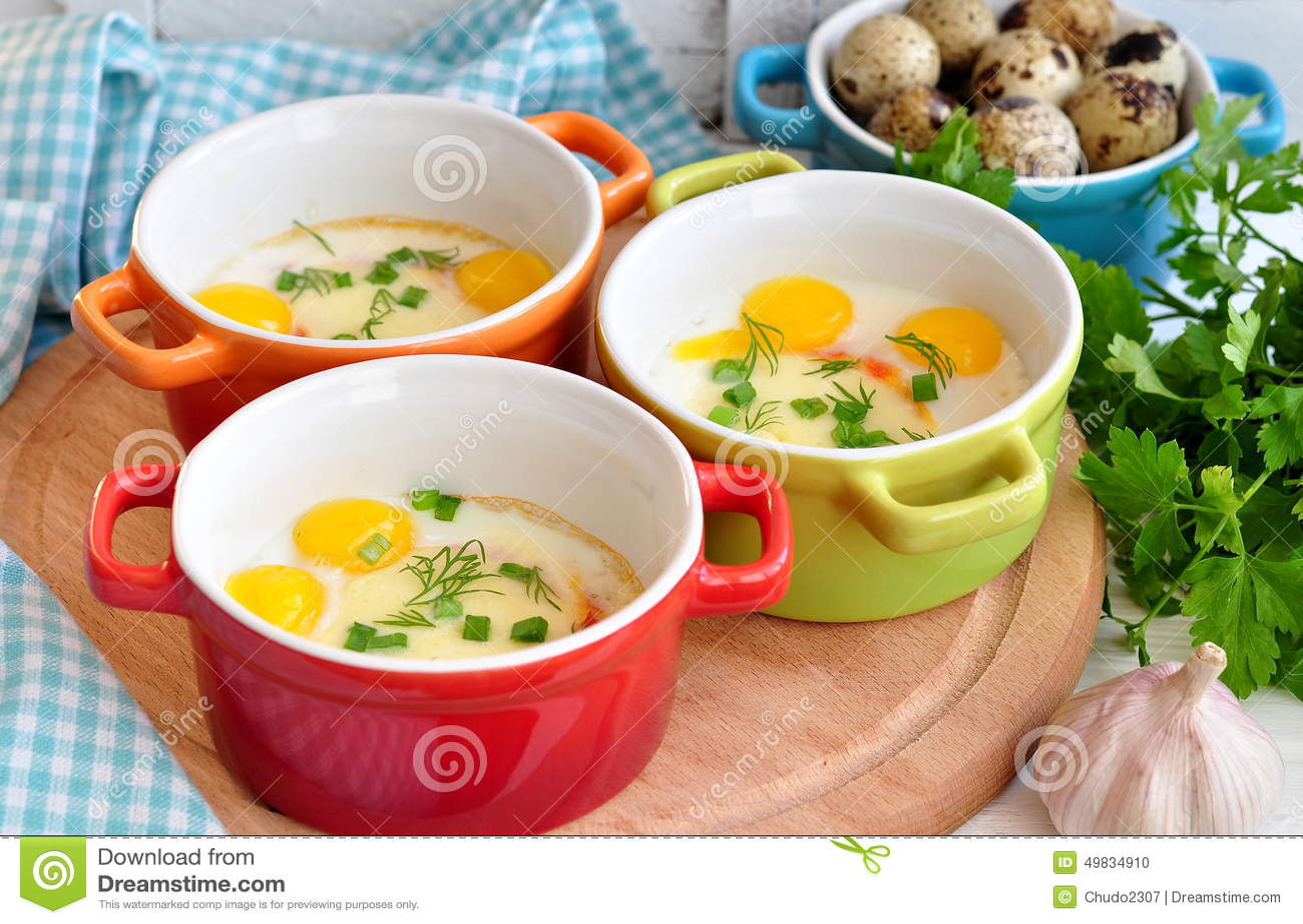 Italian Style, Eggs Baked With Mozzarella And Green Onion, Stock Photo ...