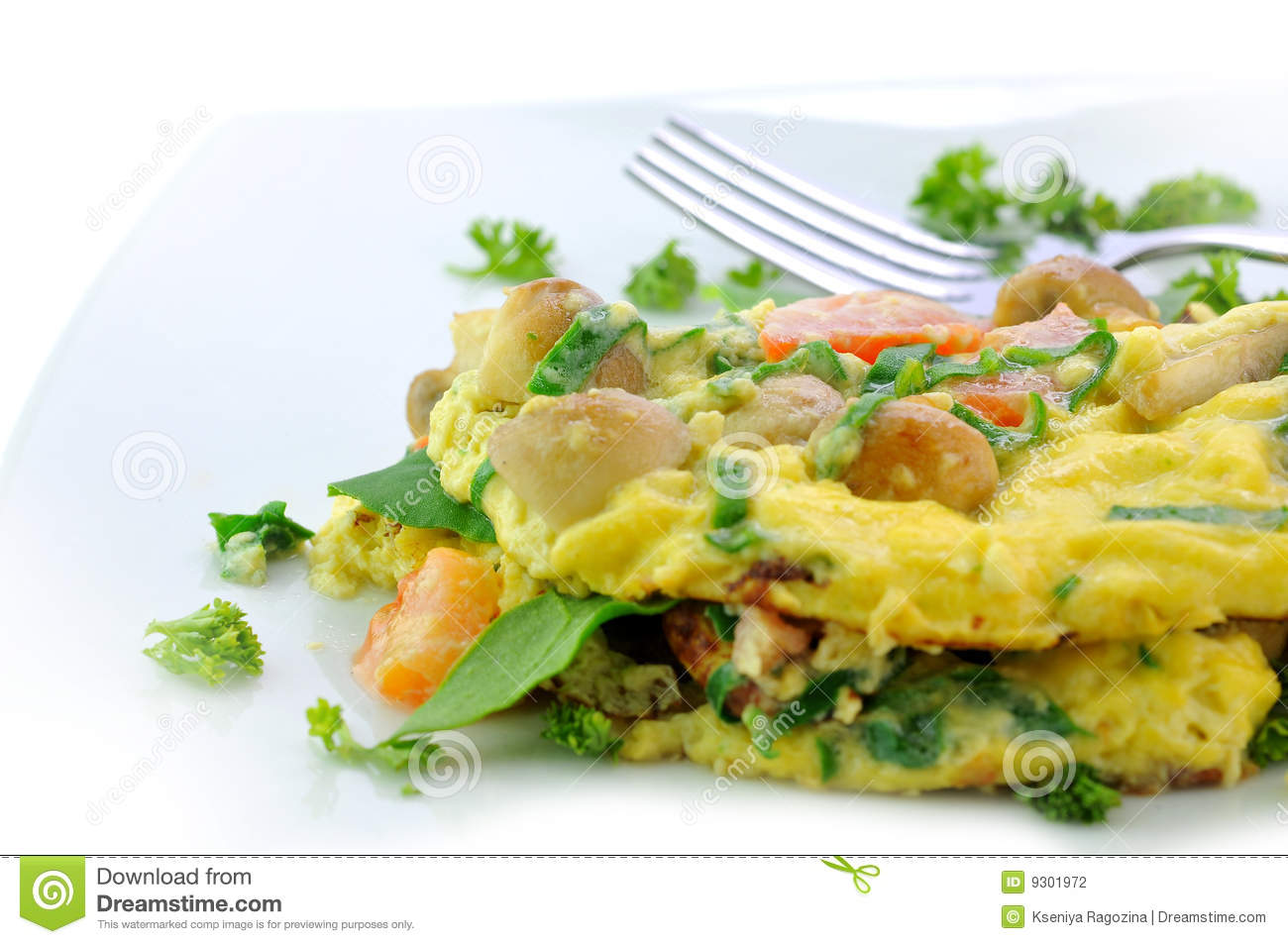 Italian-style omelet with pepper, mushrooms, tomatoes, onion and ...