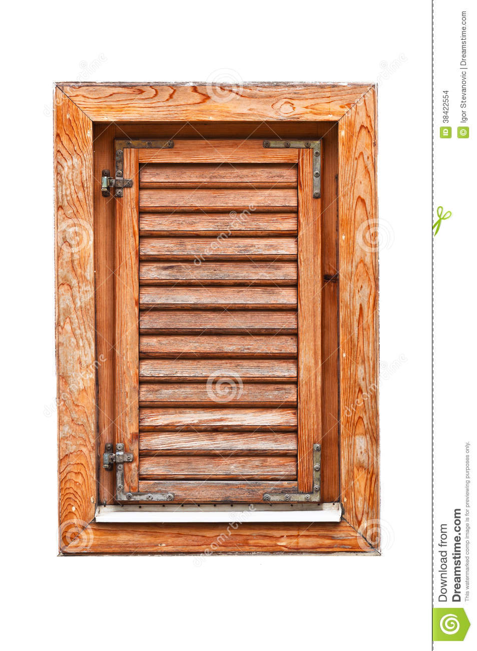 Wood Shutters Closed : Italian style wooden window with closed shutter blinds