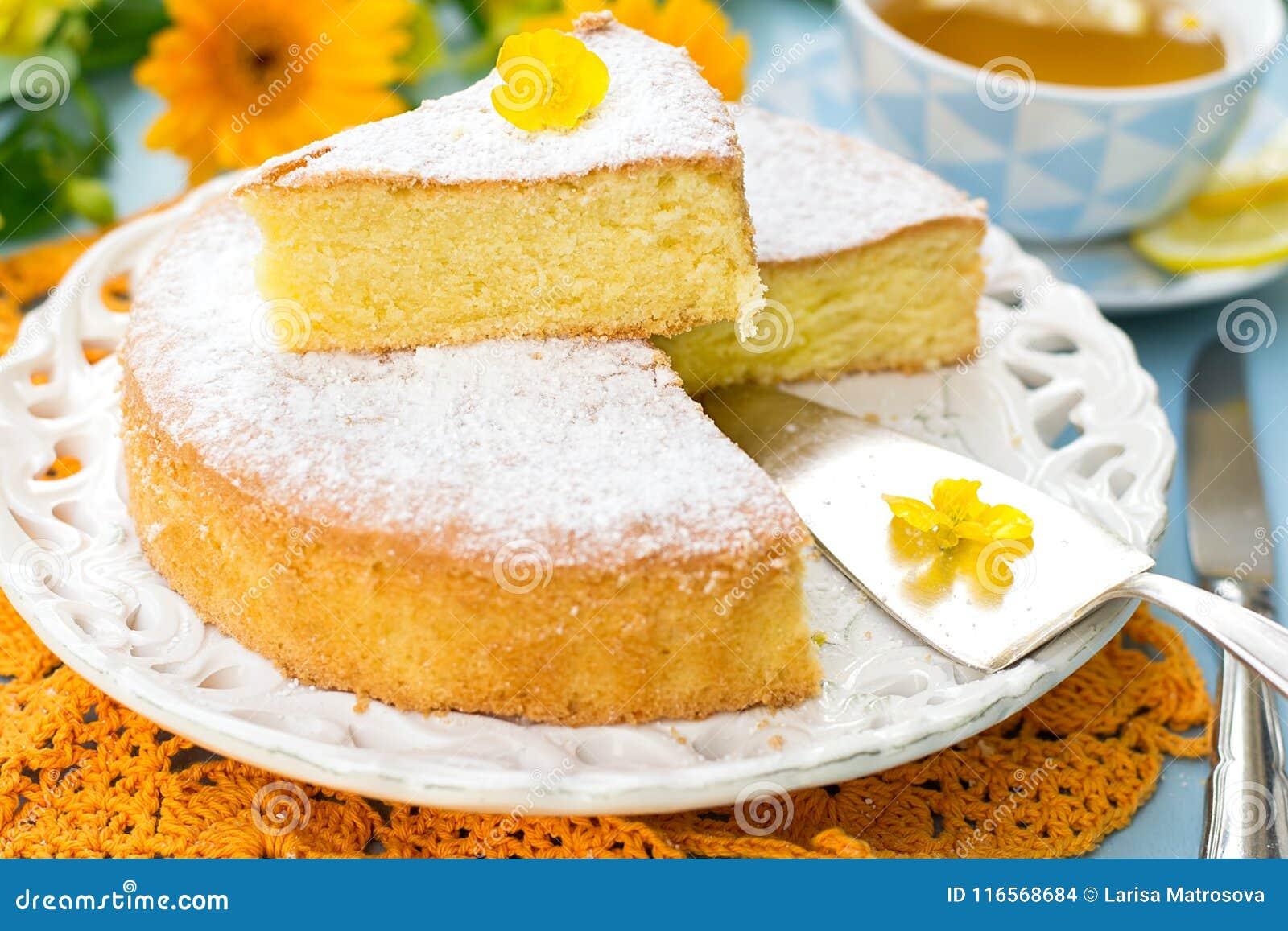 Italian Sweet Cake Torta Margherita With Icing Sugar Stock Photo
