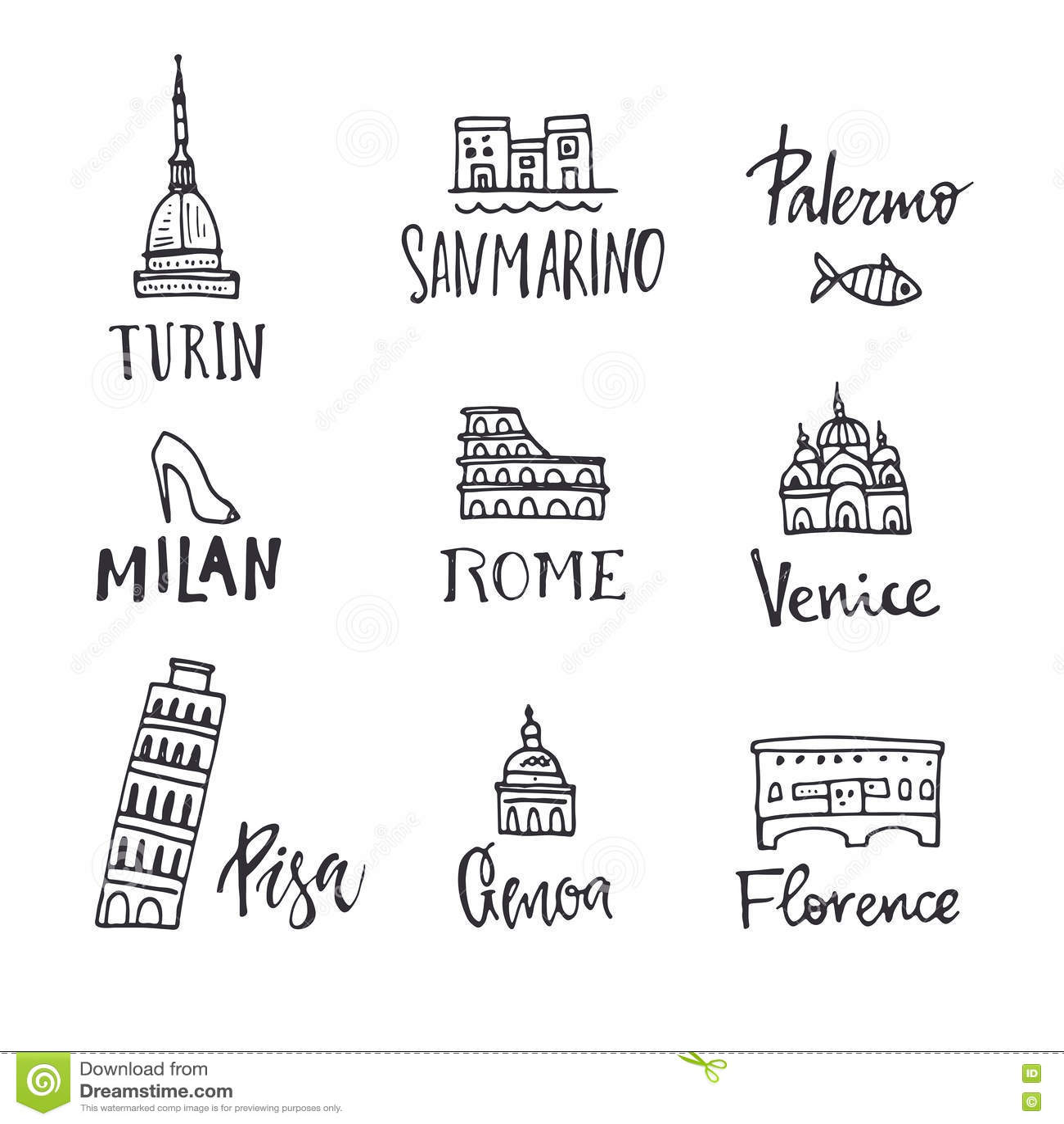 Italian Symbols Vector Illustration | CartoonDealer.com ...
