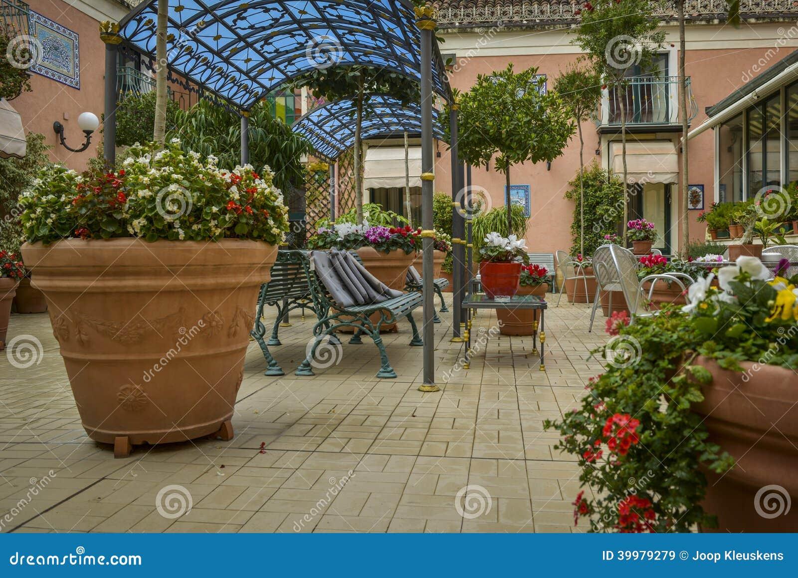 Italian terrace garden stock image image of chair retro for Terrace garden plants