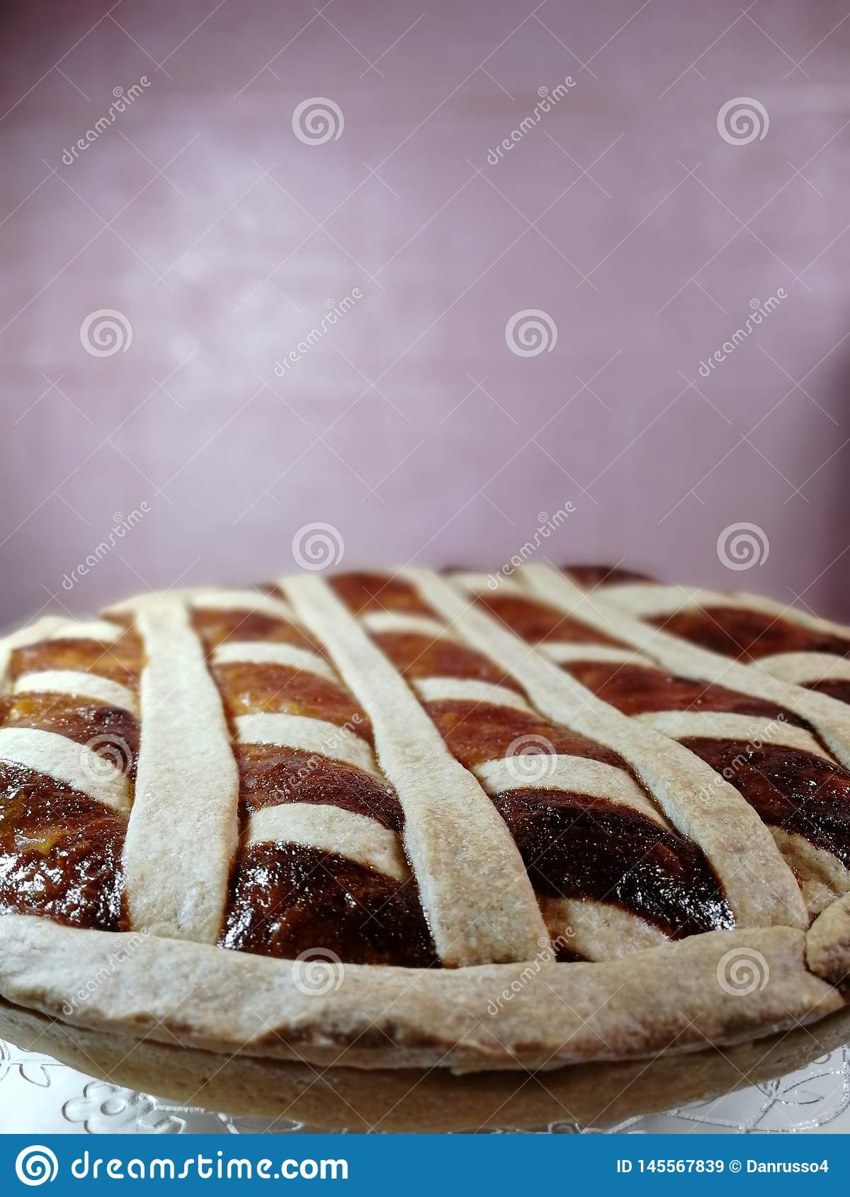 Italian traditional food called pastiera on Blur Background