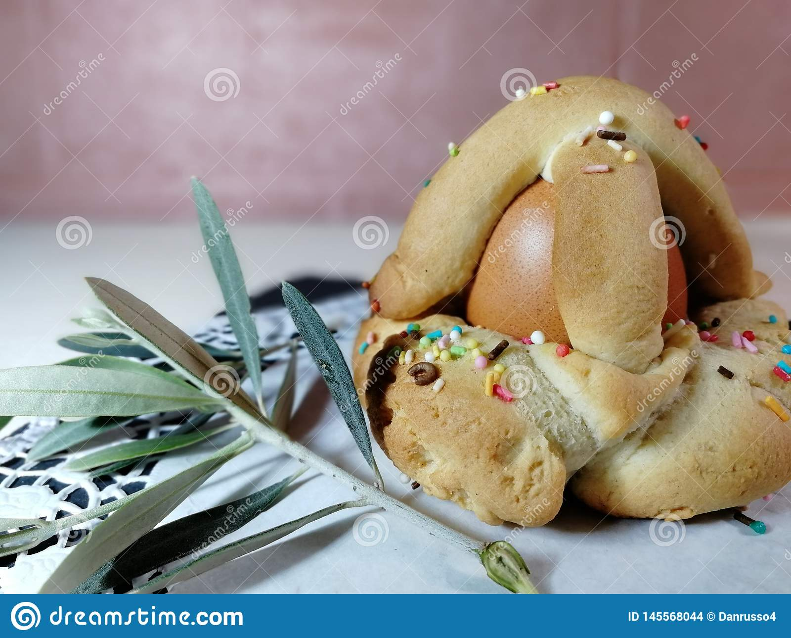 Italian traditional food called scarcella on Blur Background