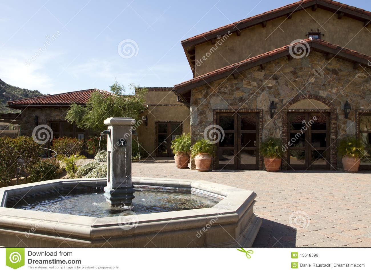 Italian Villa Fountain And Courtyard Plaza Royalty Free
