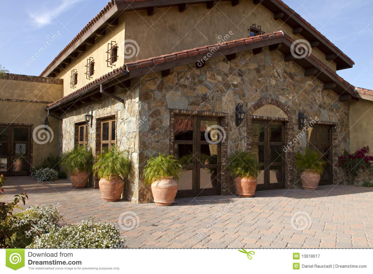 Italian villa home and courtyard plaza royalty free stock for Italian house plans with courtyard